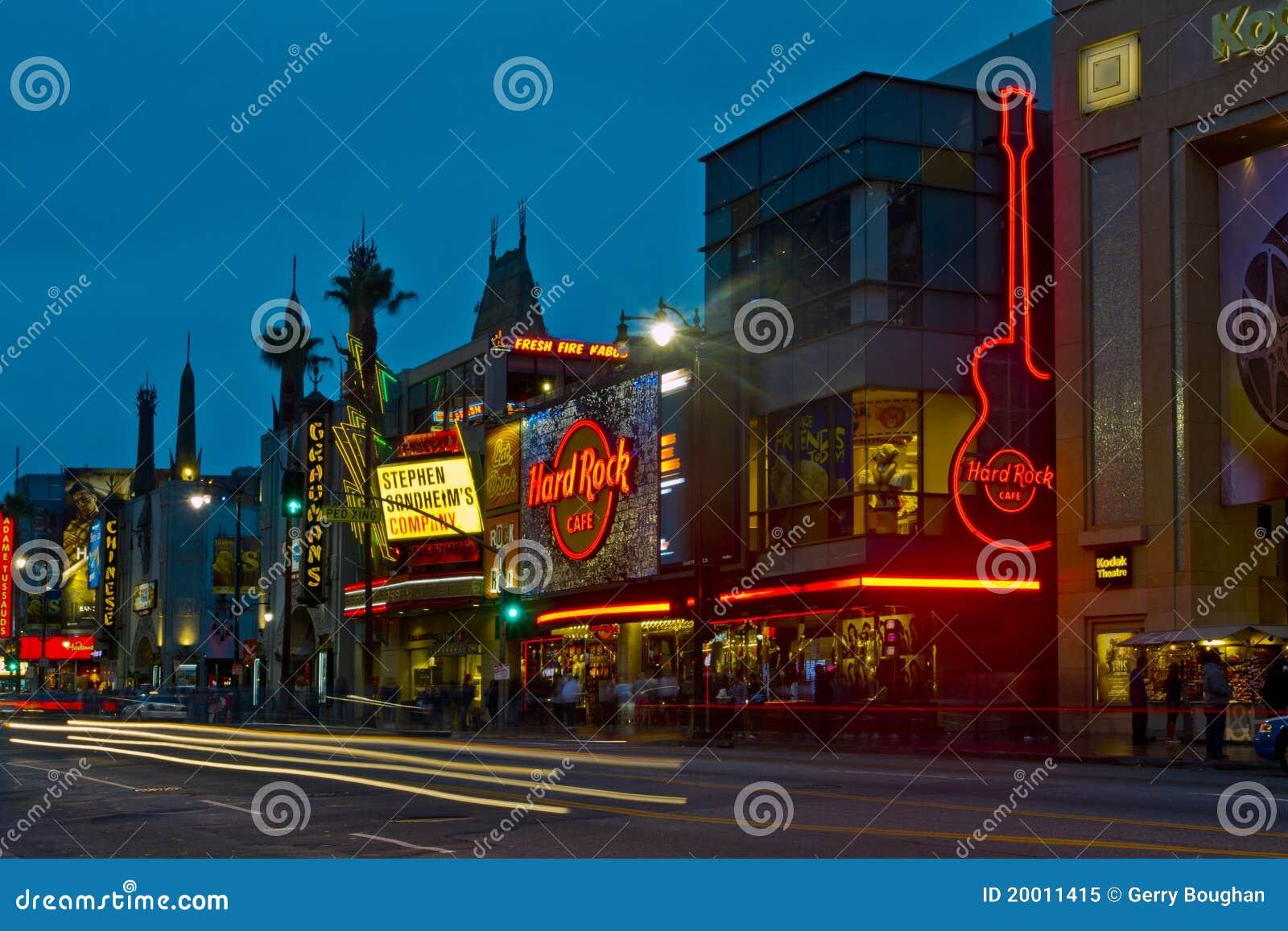 Bulevar de Hollywood en la noche