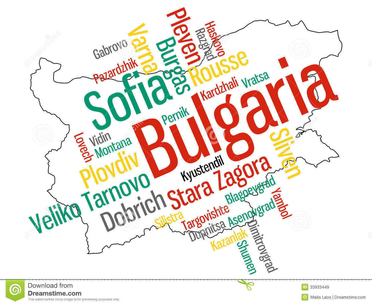 Download Bulgaria map and cities stock vector. Illustration of burgas - 33933449