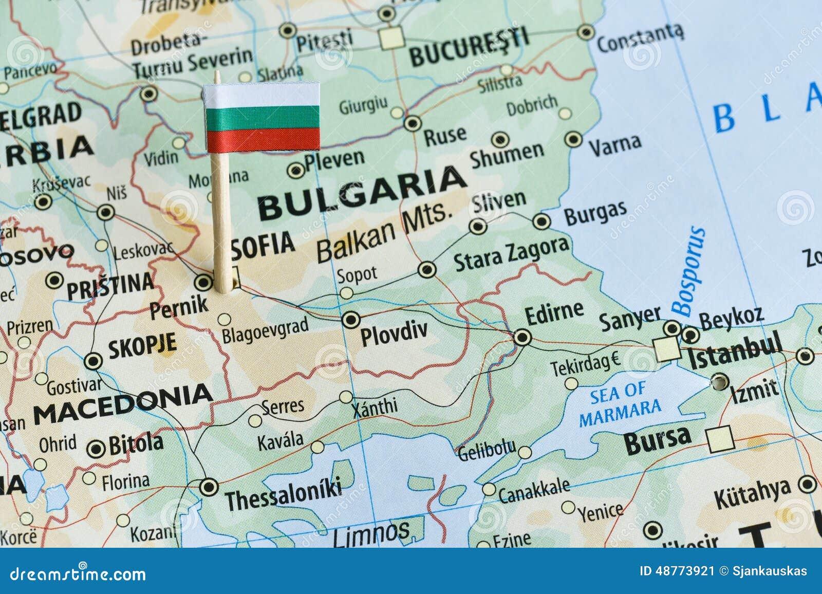 Bulgaria Map Flag Pin Stock Photo - Image: 48773921
