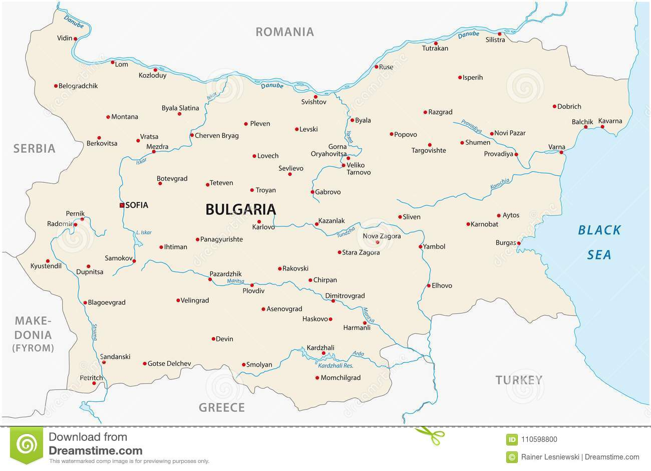 European Map With Major Cities.Bulgaria Map With Major Cities And Rivers Stock Vector