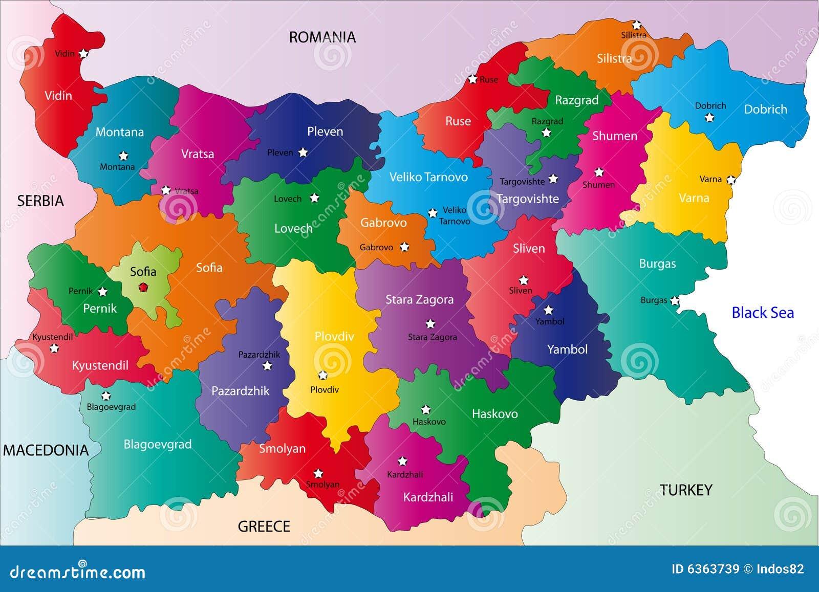 Karte Bulgarien.Bulgarien Karte Vektor Abbildung Illustration Von Aqua