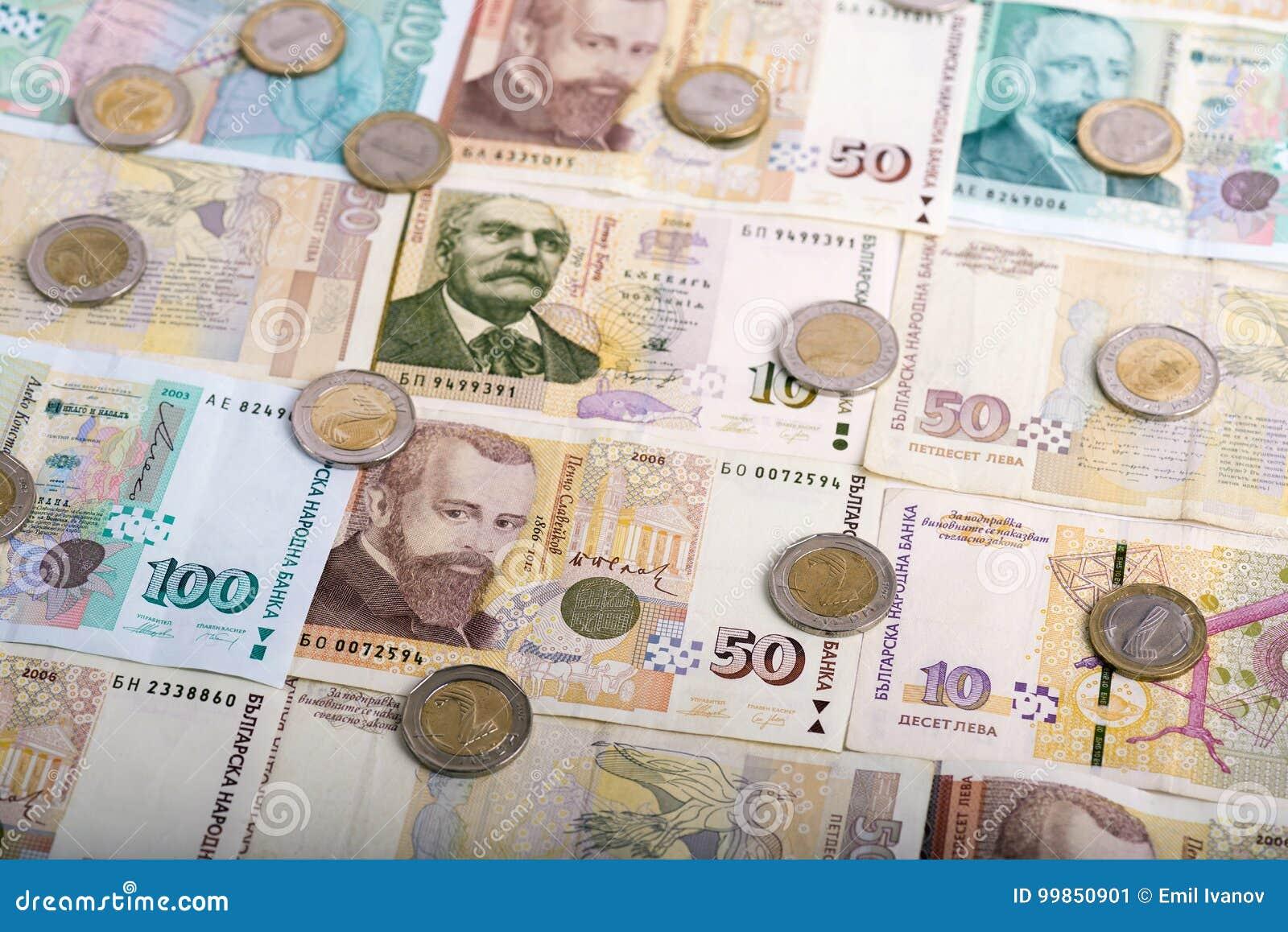 Bulgarische Währung Bgn Lev Und Münzen Stockbild Bild Von Münze