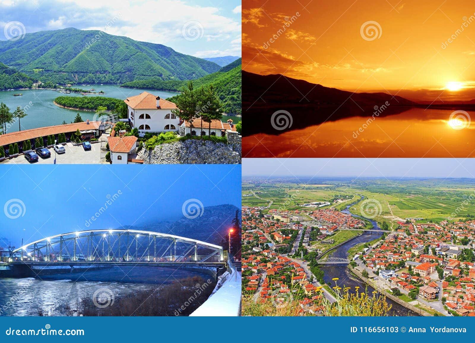 Bulgarisk för Plovdiv för landskapKrichim stad collage för vykort område