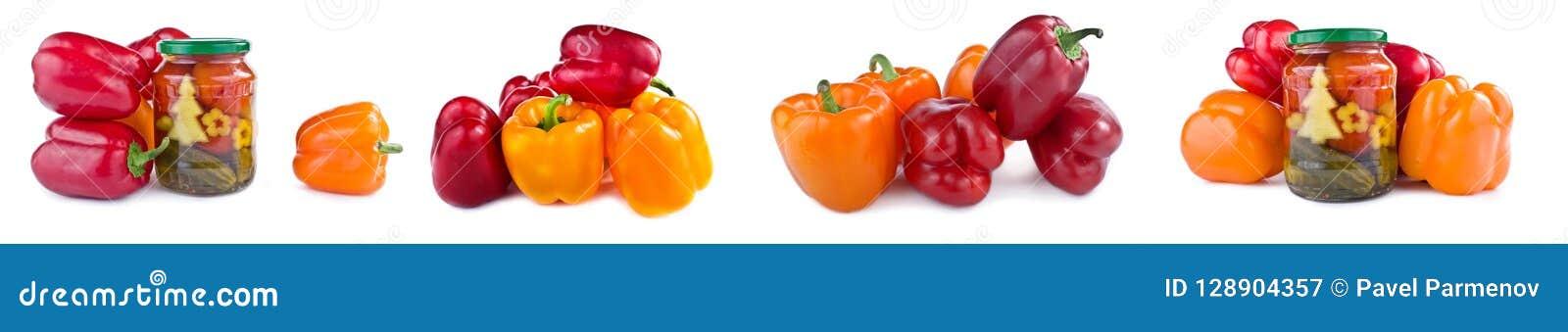 Bulgarisk peppar, inlagda gurkor och tomater collage