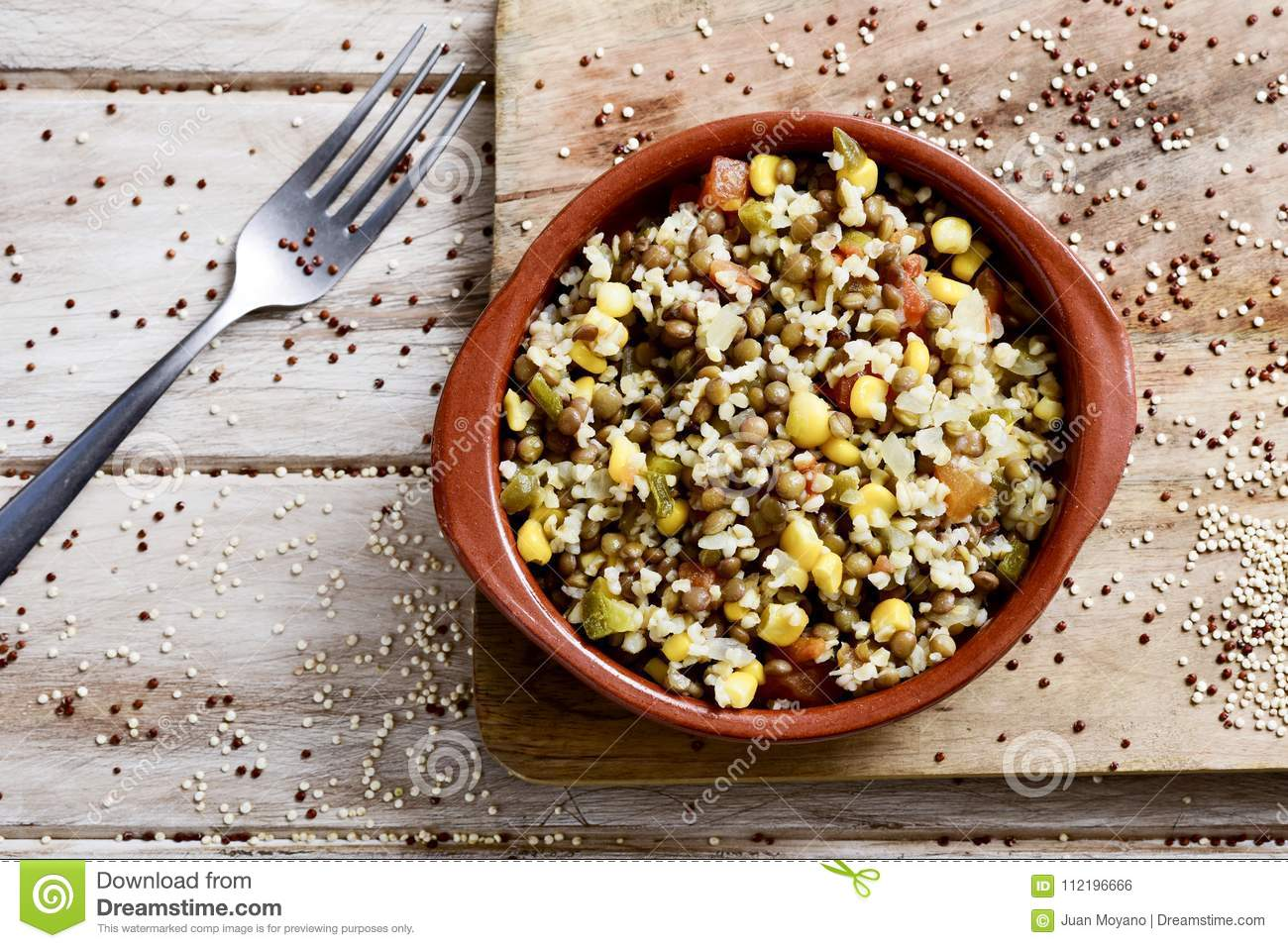 Bulgur Salad With Lentils And Other Vegetables Stock Photo