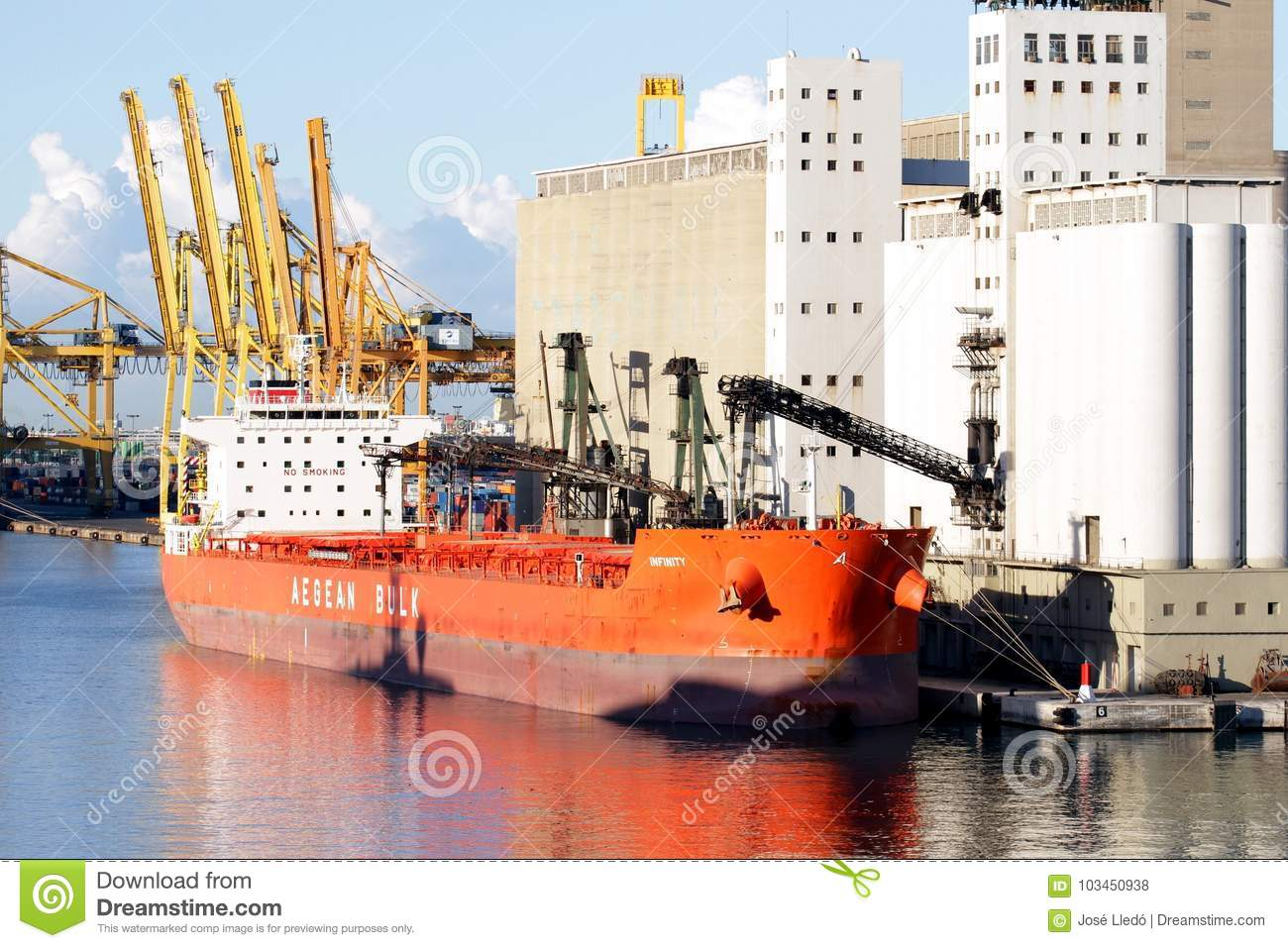 10d74718e7a46 Bulk-carrier Downloading In Barcelona Port. Editorial Stock Photo ...