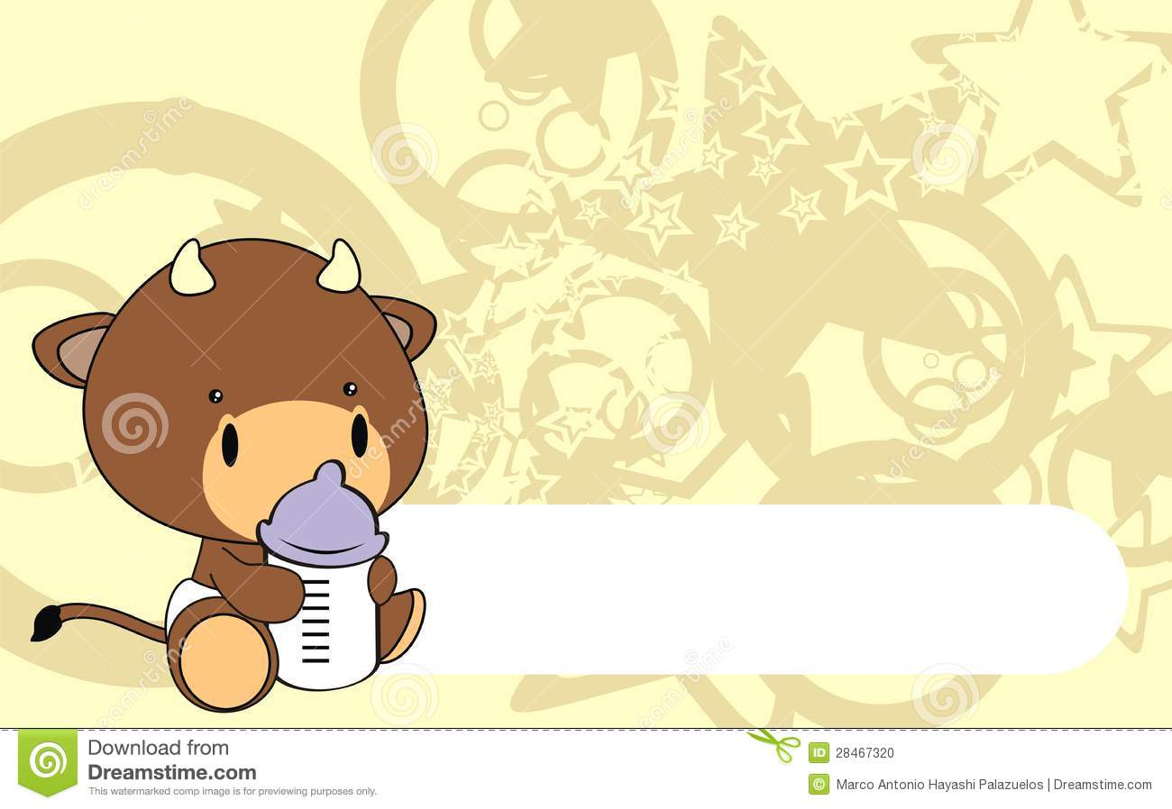 Bull Baby Cartoon Background Stock Vector Image 28467320