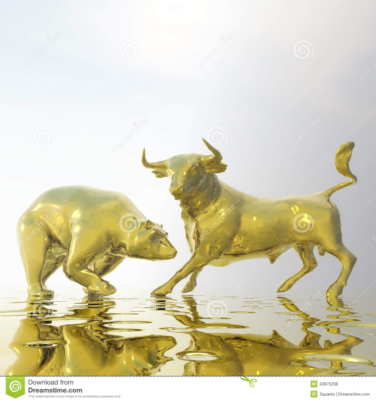 Bull And Bear Stock Illustration Image 43875298