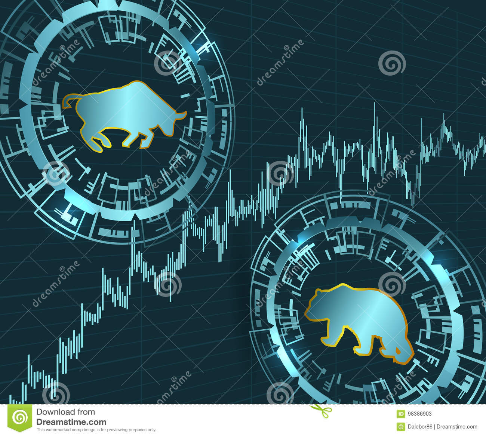 Bull and bear symbols and price chart stock vector illustration bull and bear symbols and price chartdern stock exchange concept buycottarizona Gallery