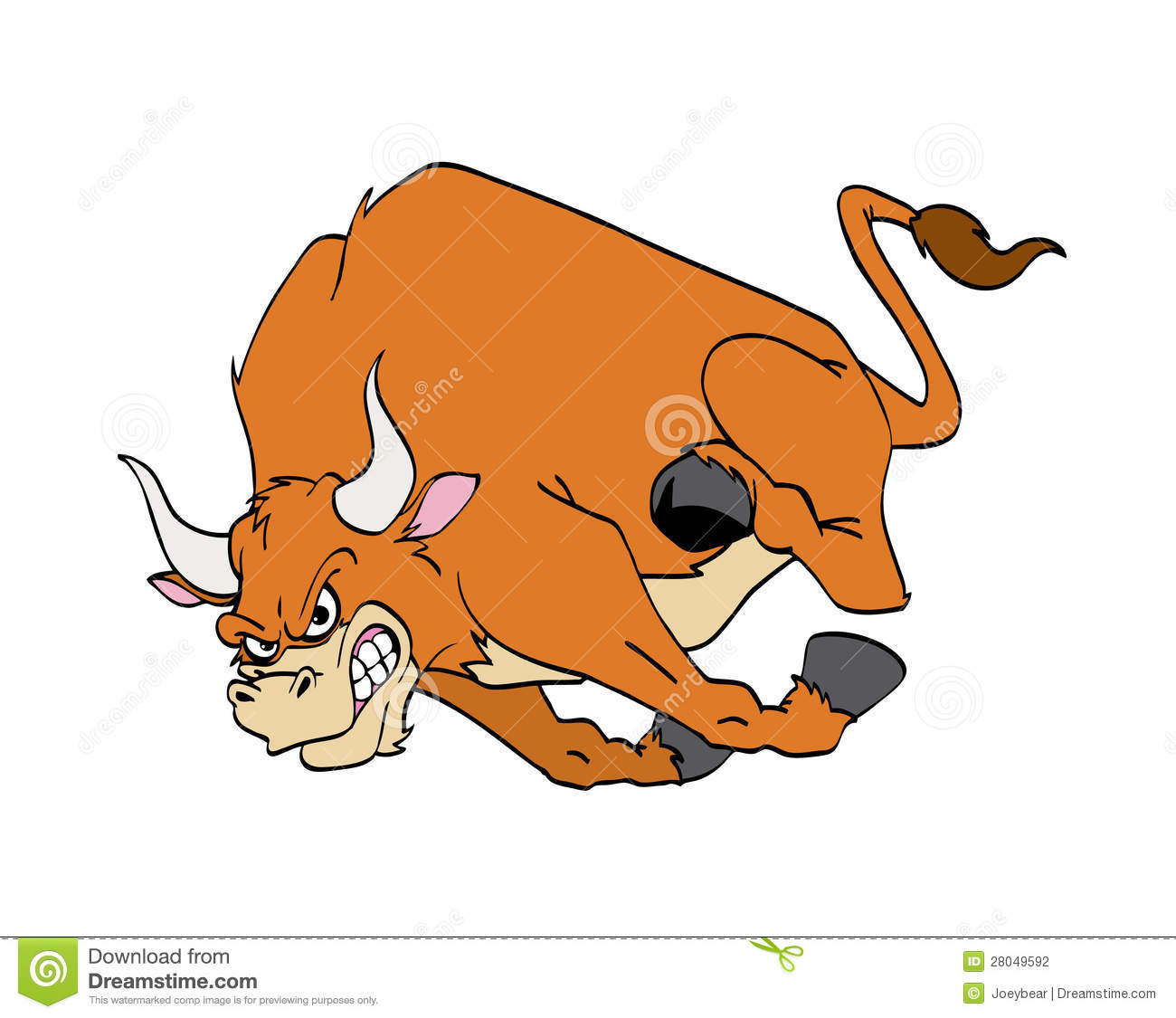 Bull charging stock vector illustration of animals