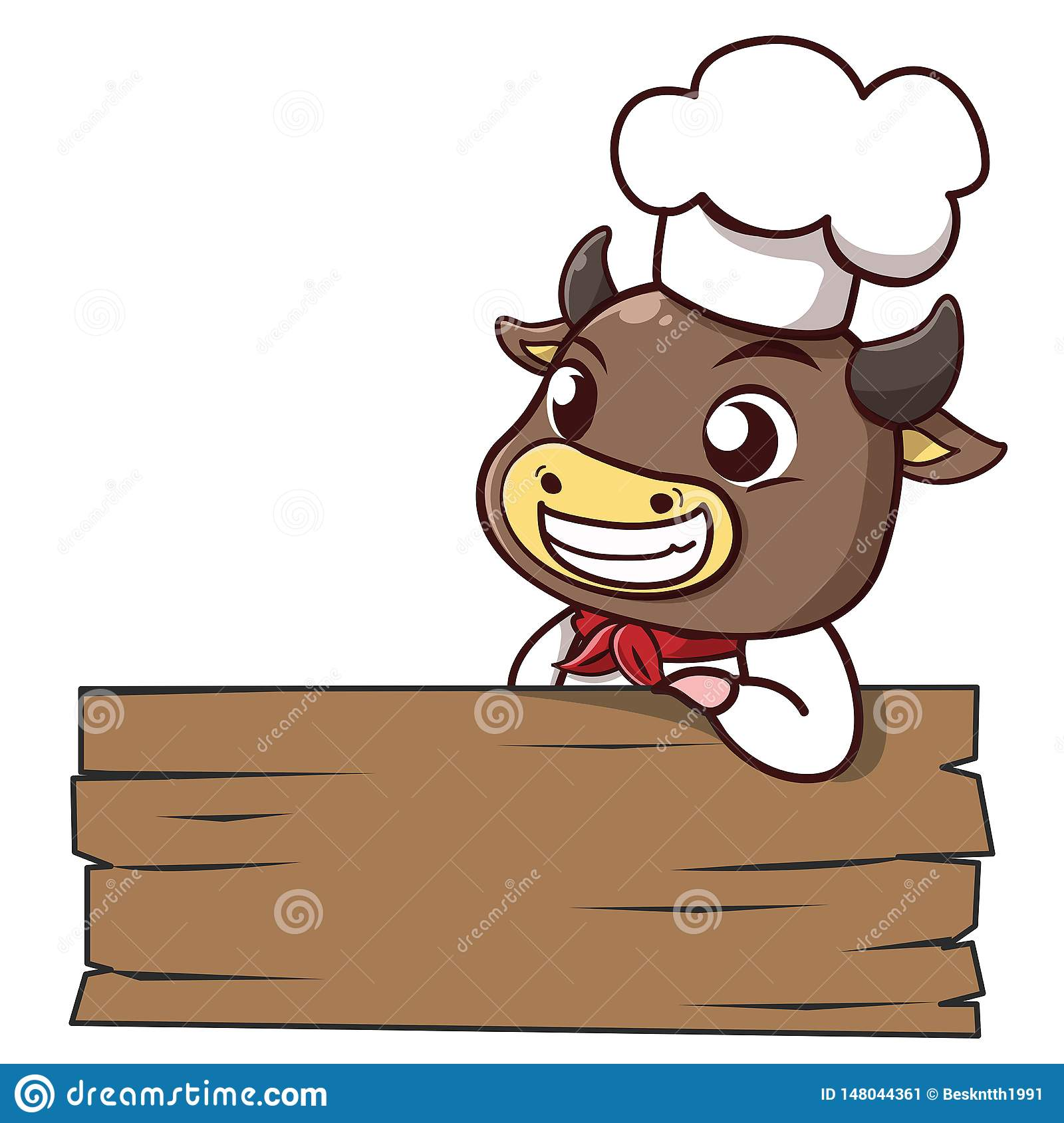 Bull chef lean signage wood