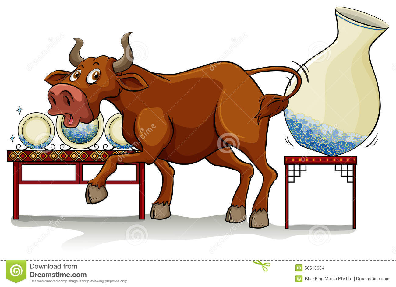 A Bull In A China Shop Stock Vector Image 50510604