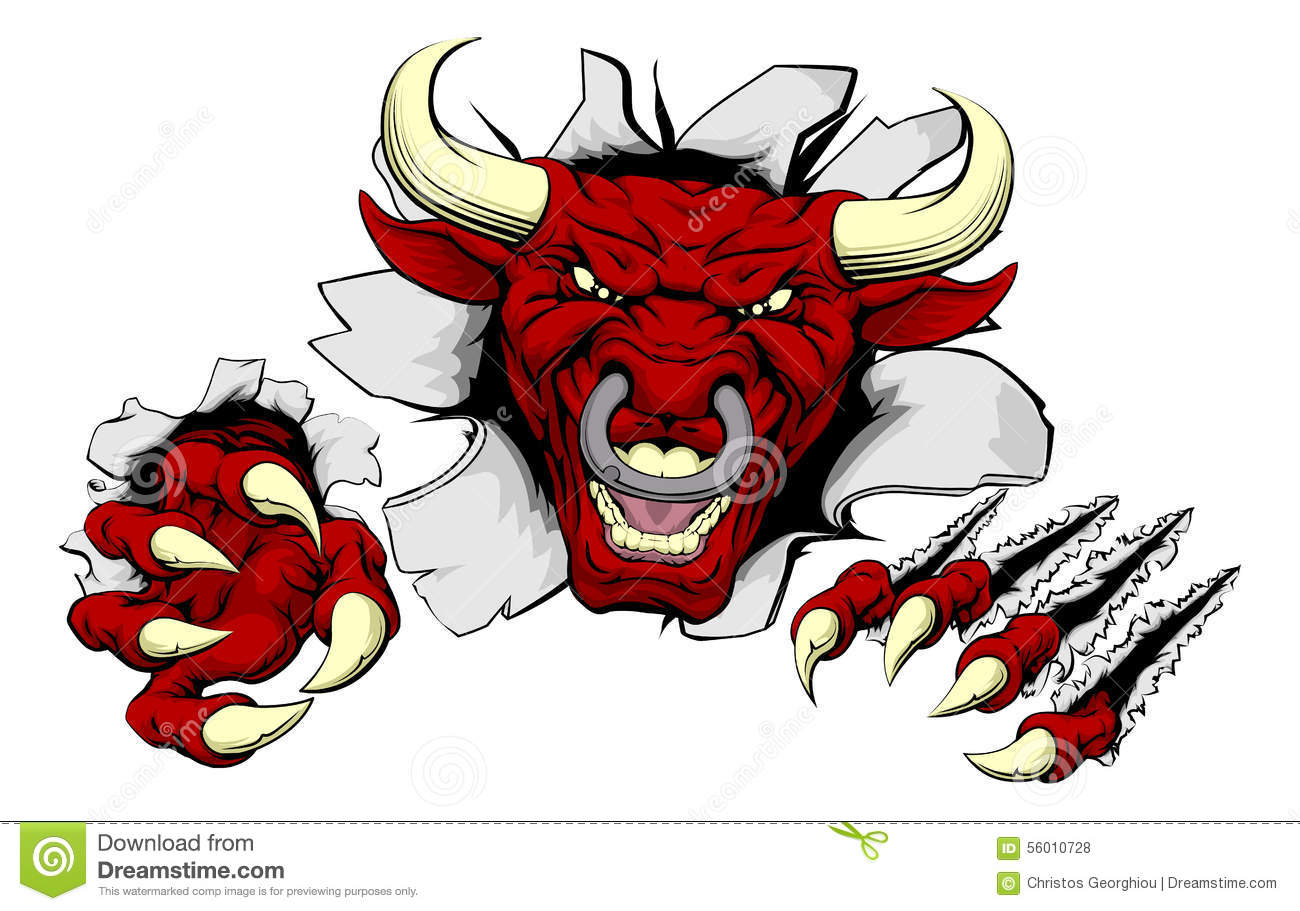 Bull Claws Smash Out Stock Vector. Illustration Of Face