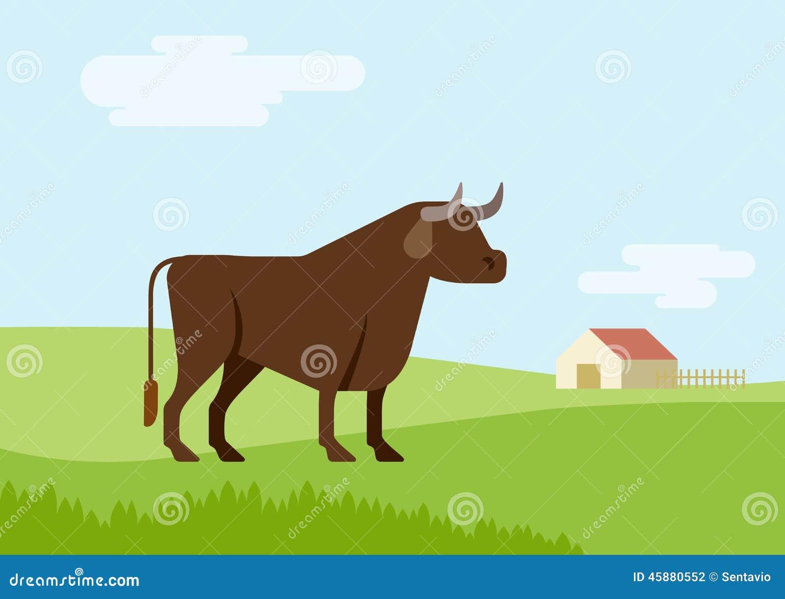 Stock Vector: Bull farm grass field habitat flat design cartoon vector ...