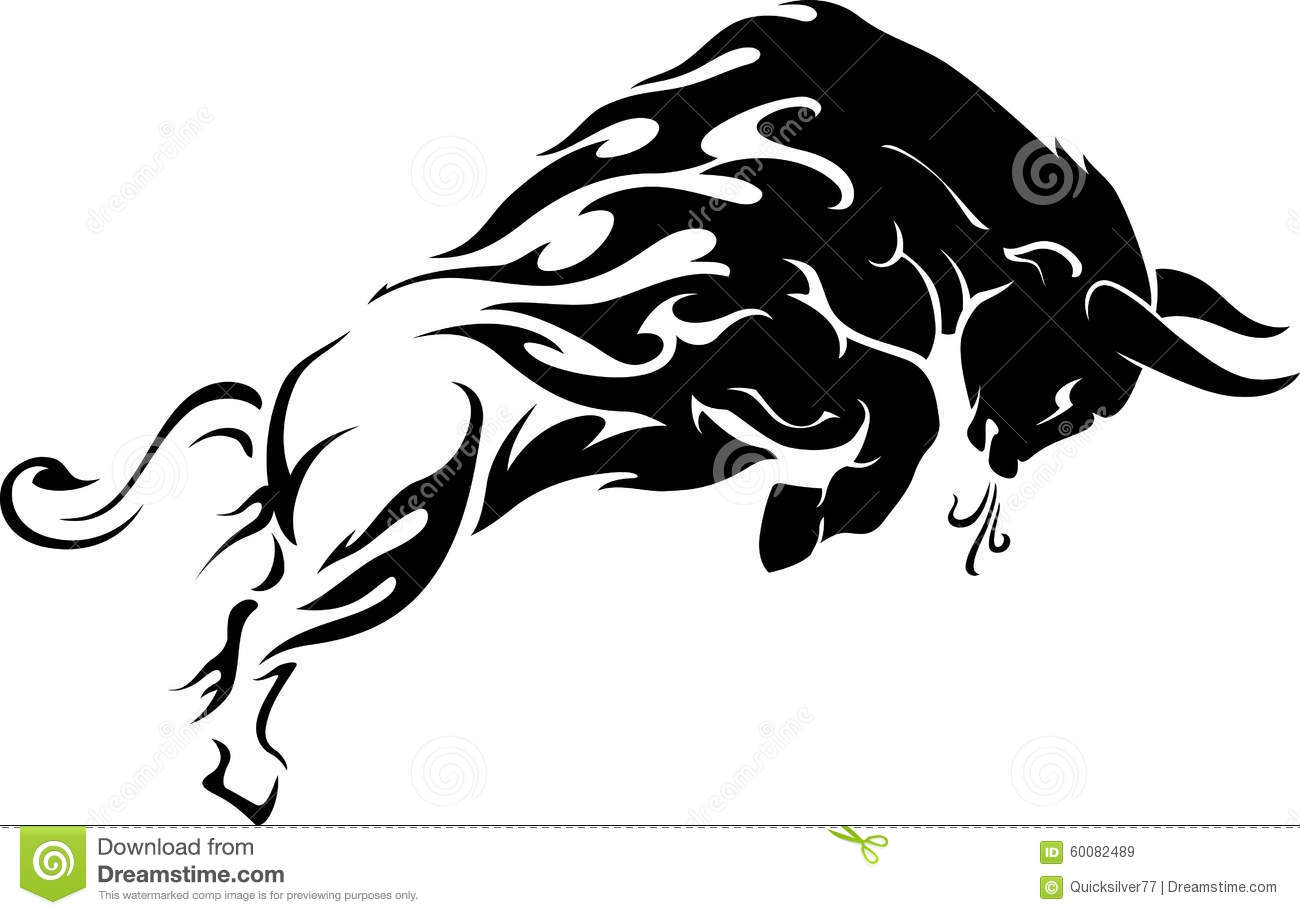Bull Flame Trail Tattoo stock image. Image of filled