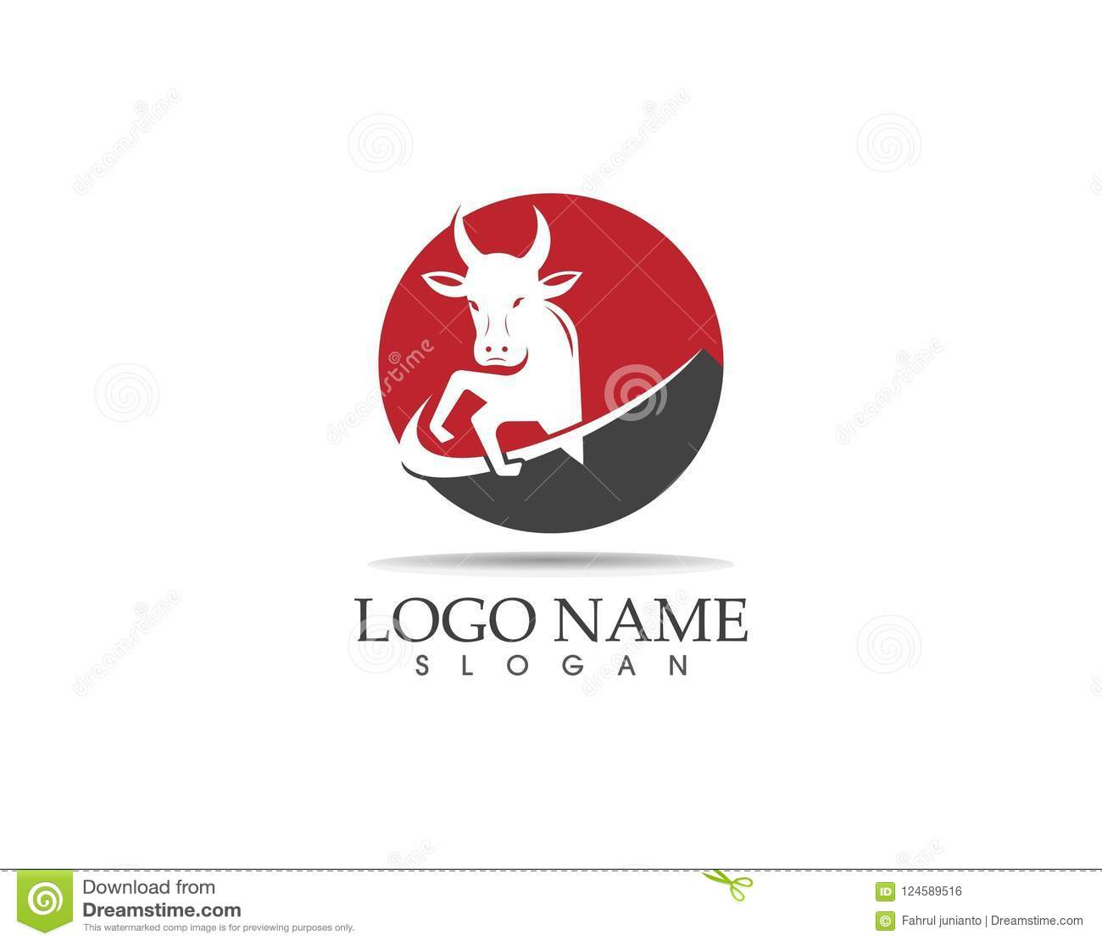 Bull Head Icon Logo Design Vector Template Stock Vector