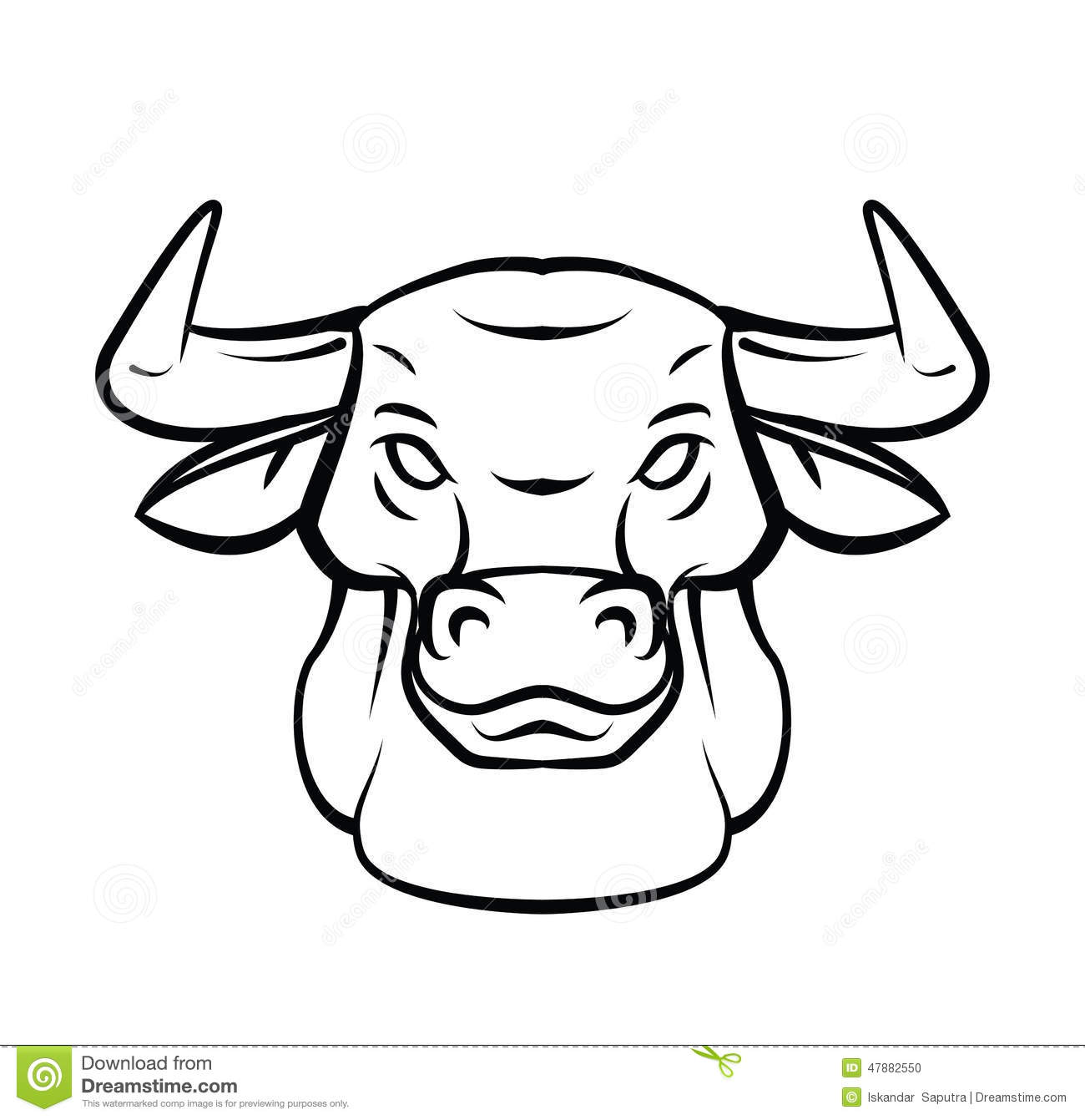 bull head tattoo vector illustration stock vector image 47882550. Black Bedroom Furniture Sets. Home Design Ideas