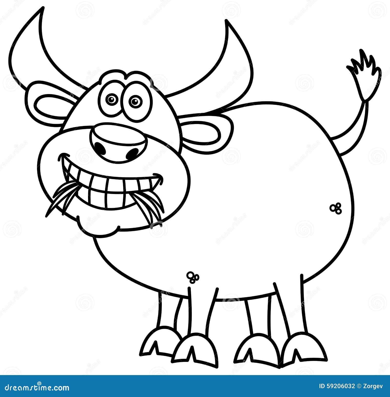 Bull Que Come La Hierba Para Colorear Ilustración del Vector ...