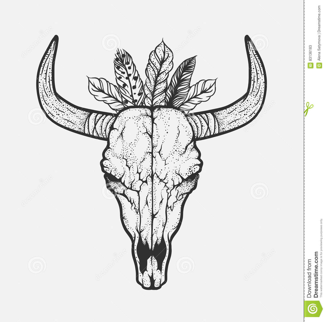 bull skull with feathers native americans tribal style tattoo