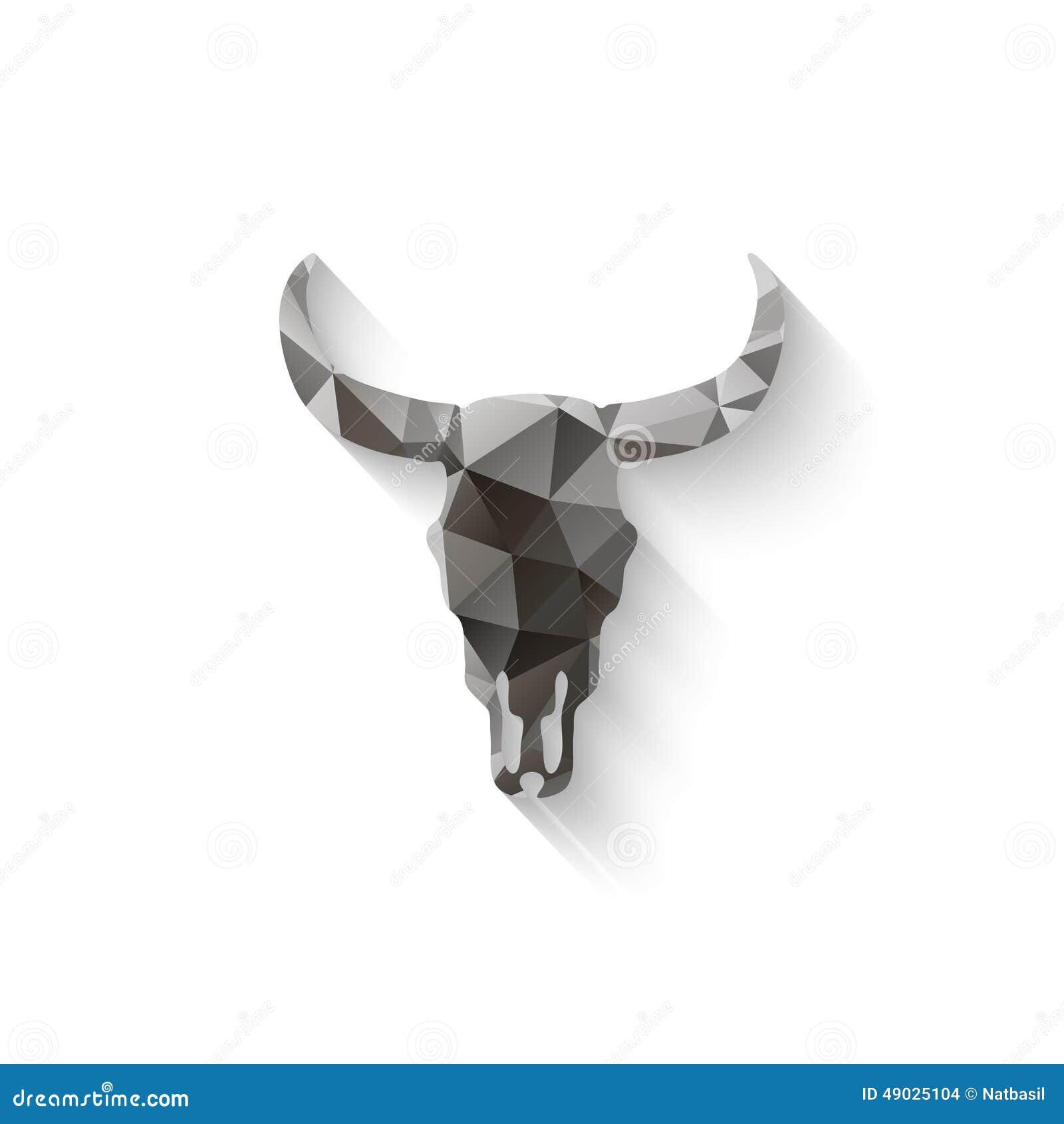 bull u0027s skull drawing on paper stock vector image 67109532