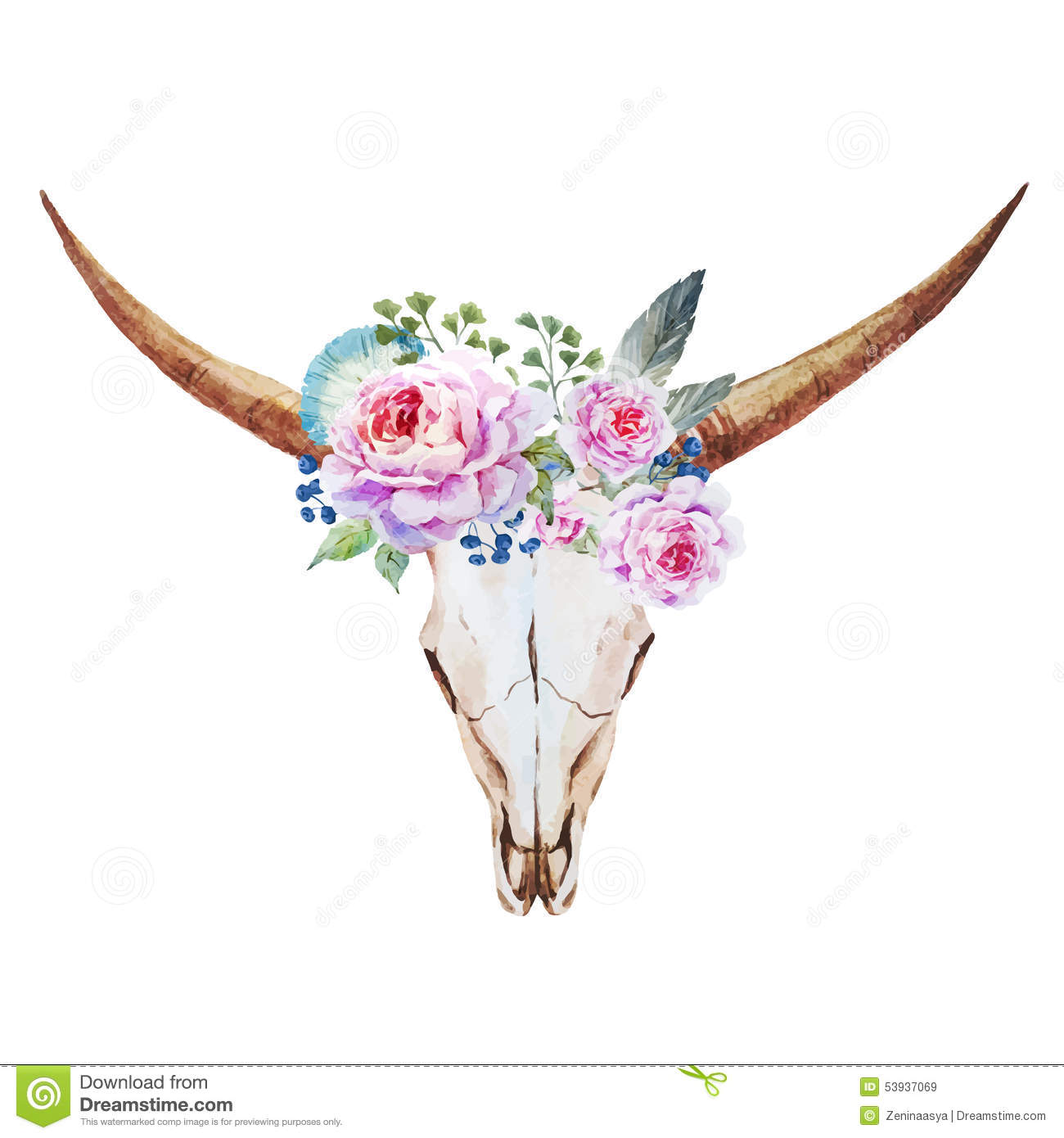 Cow Wall Stickers Bull Skull Watercolor Stock Vector Illustration Of Emblem