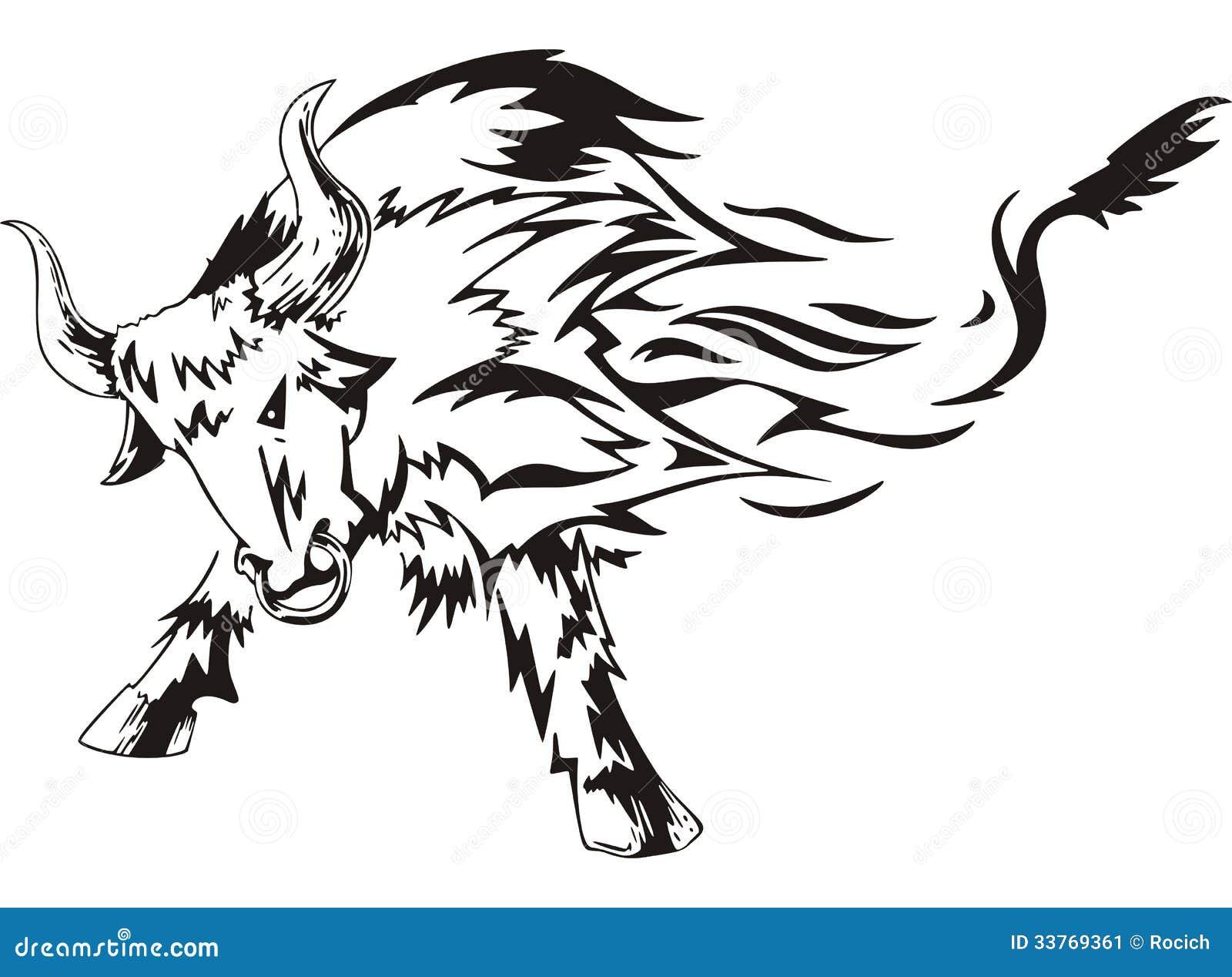 Bull Tattoo Stock Vector Illustration Of Black Decorative 33769361