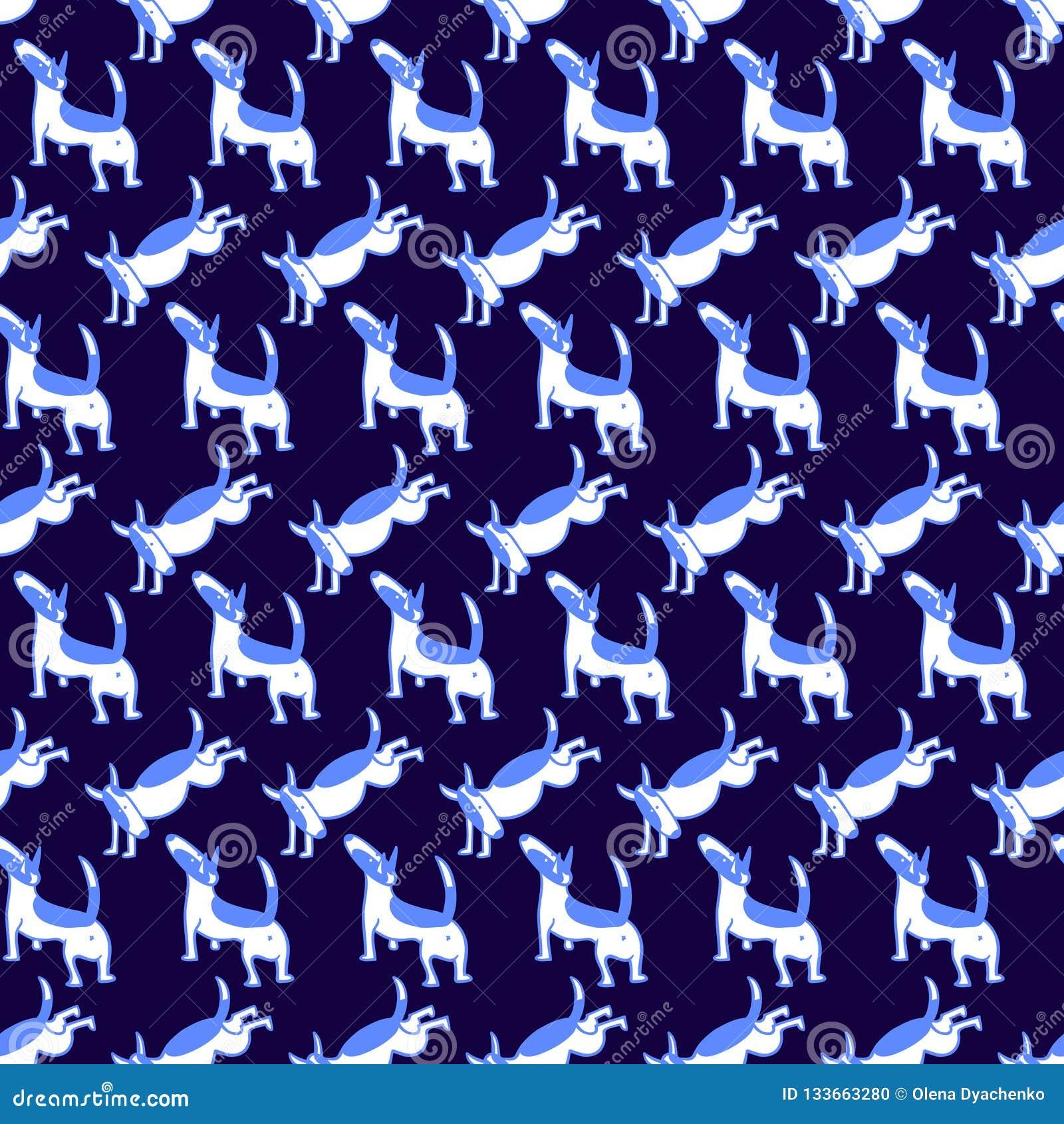 Bull terrier jest prześladowanym bezszwowego wzór Tło z zwierzęcia domowego charact