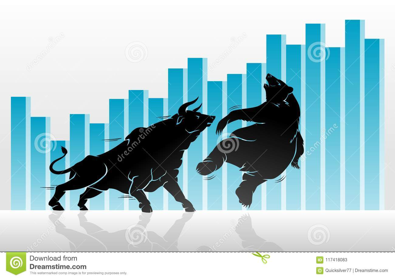 Bull Versus Bear Graph Stock Vector Illustration Of Body 117418083
