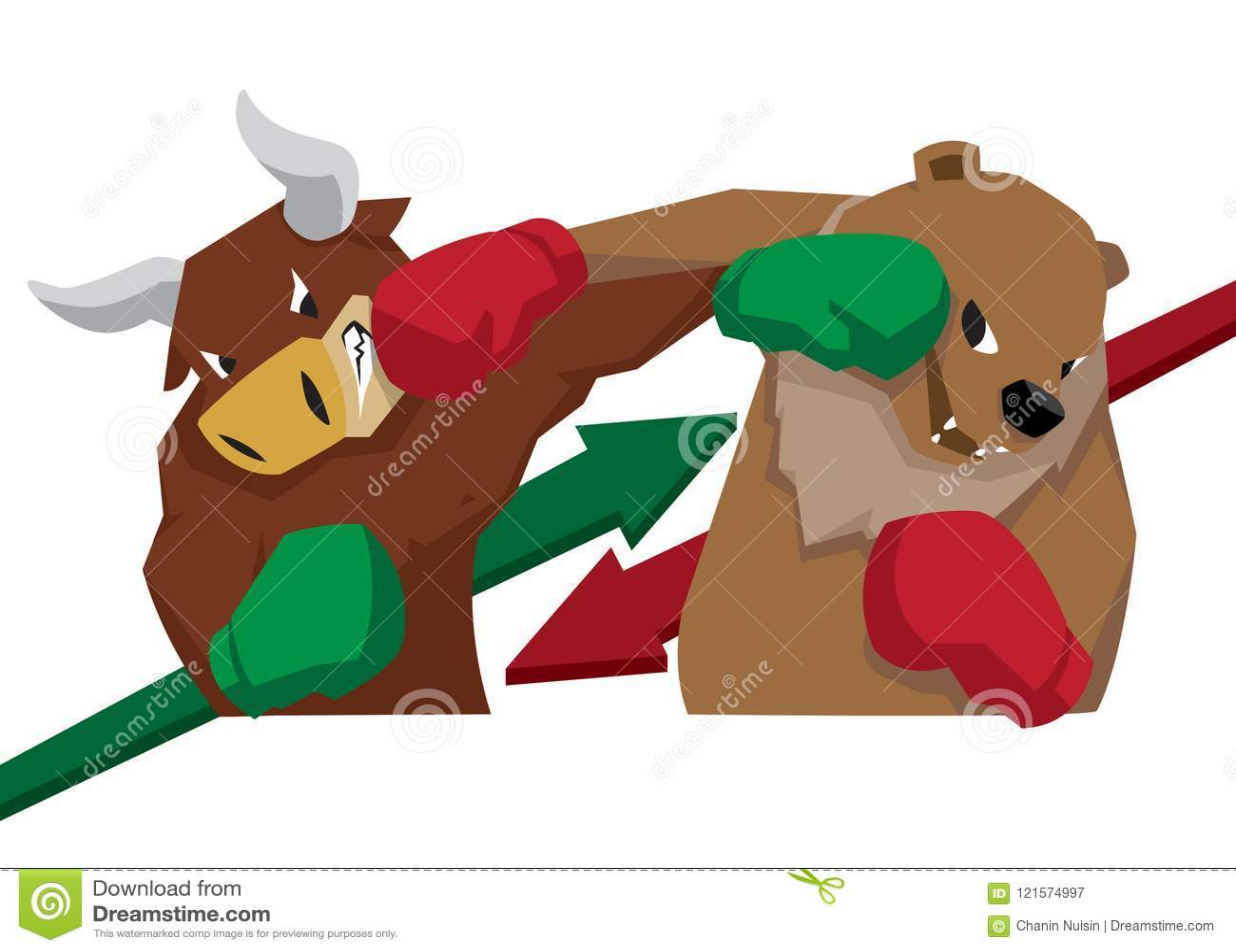 bull vs bear symbol of stock market trend illustration arrow green