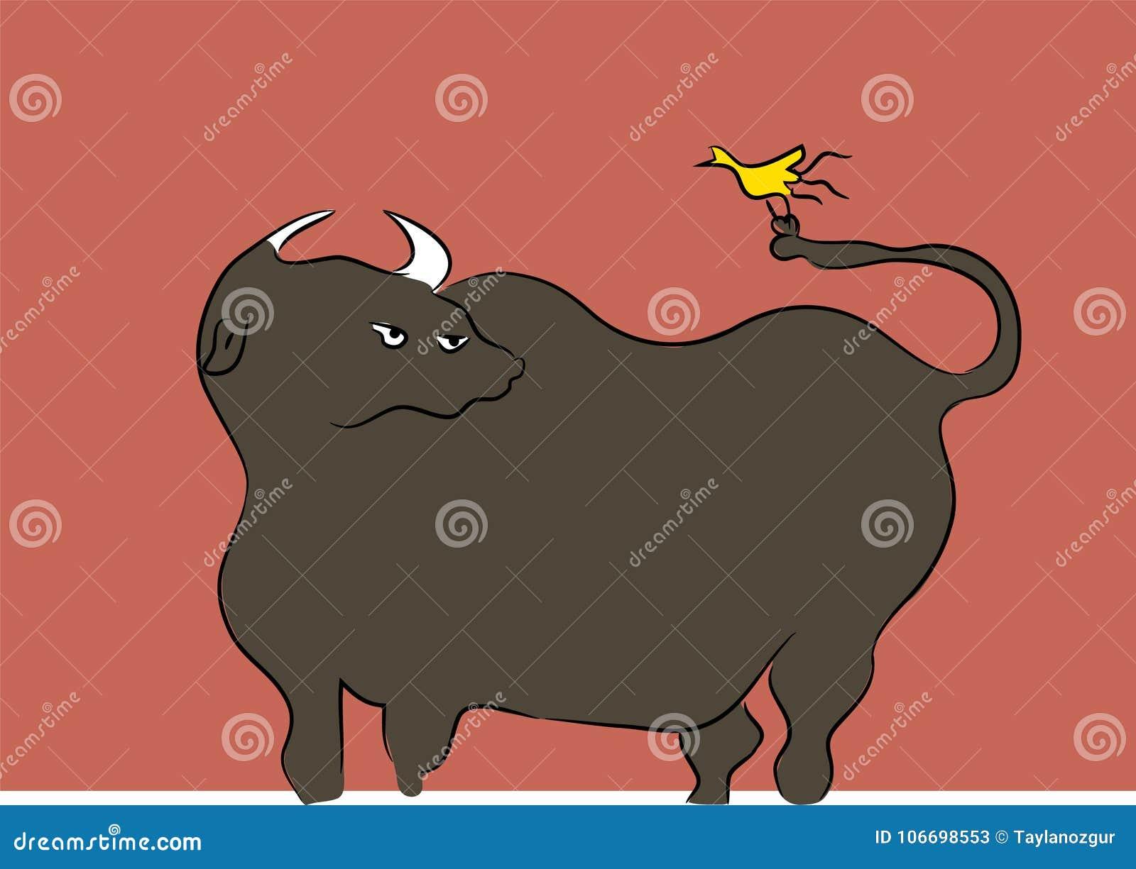 Bull and yellow bird