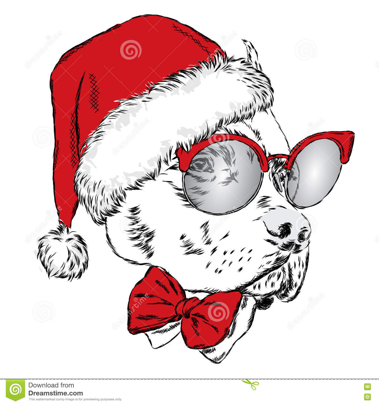 Bulldog In A Christmas Hat And Sunglasses. Vector