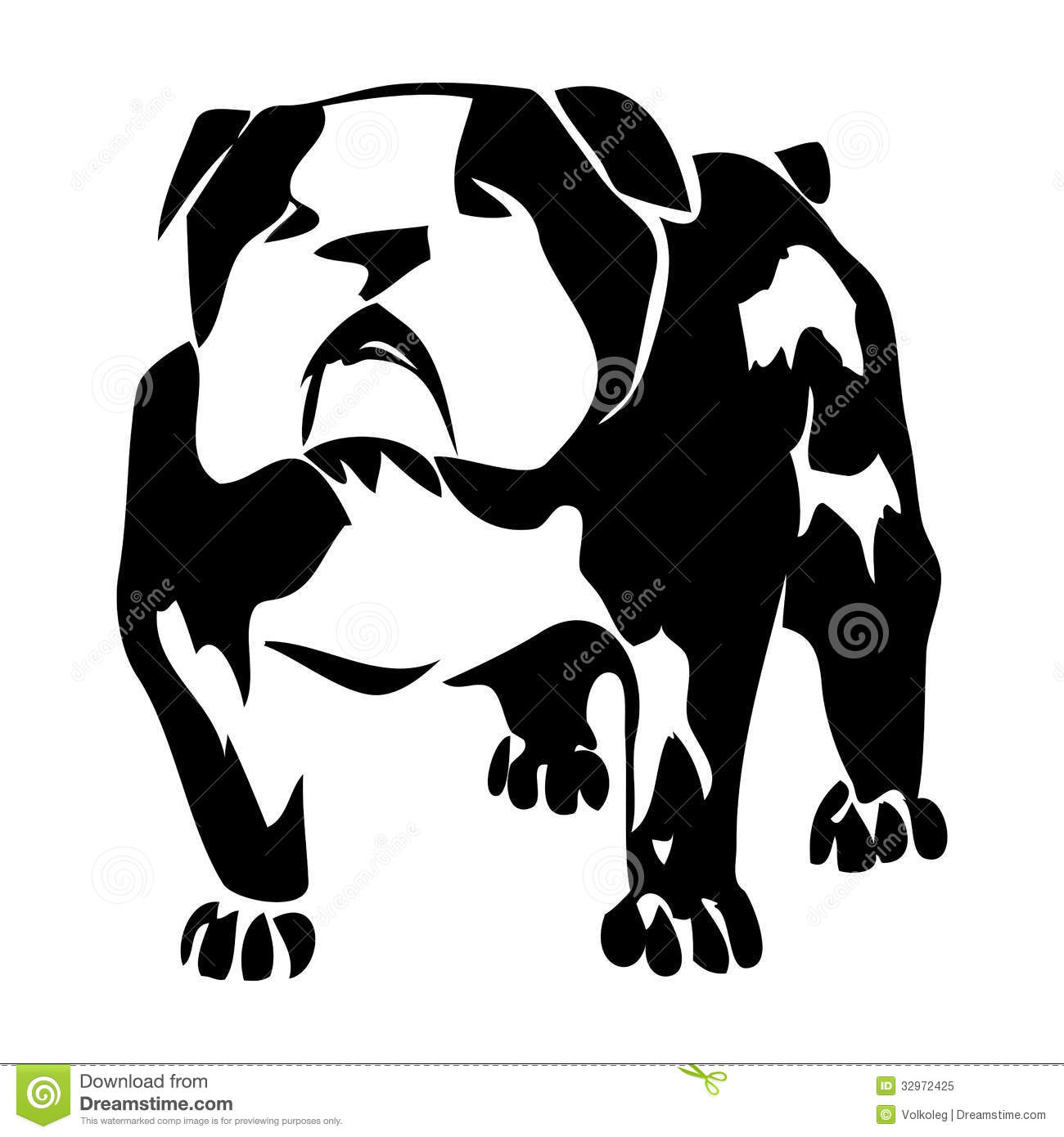 Bulldog Dog Black And White Vector Graphic Illustr Royalty Free Stock ...