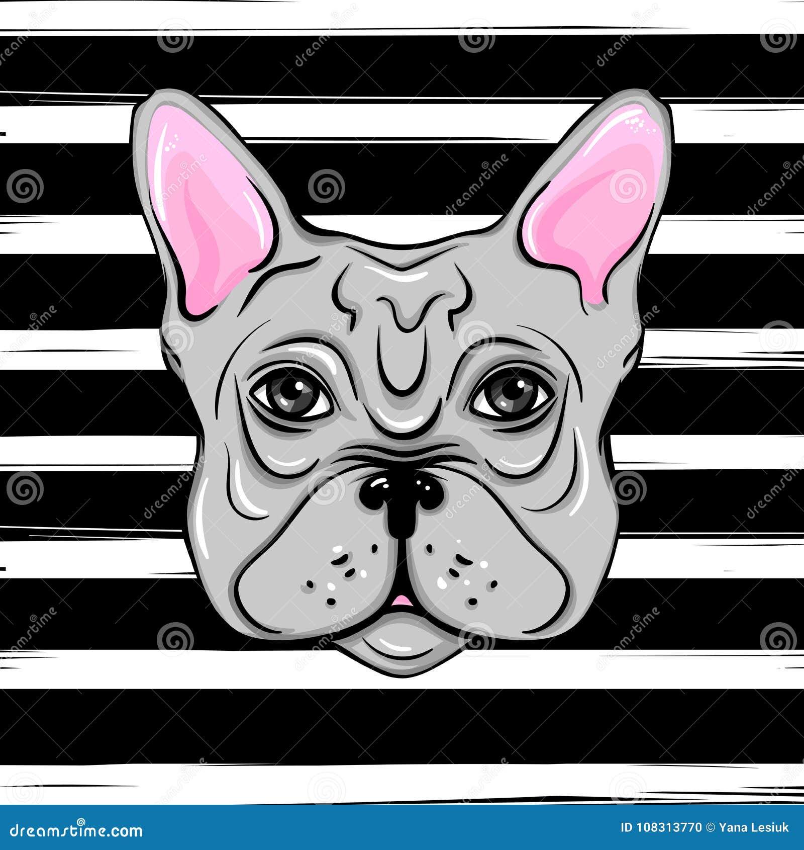 Bulldog francese di vettore illustrazione di un arco sveglio di