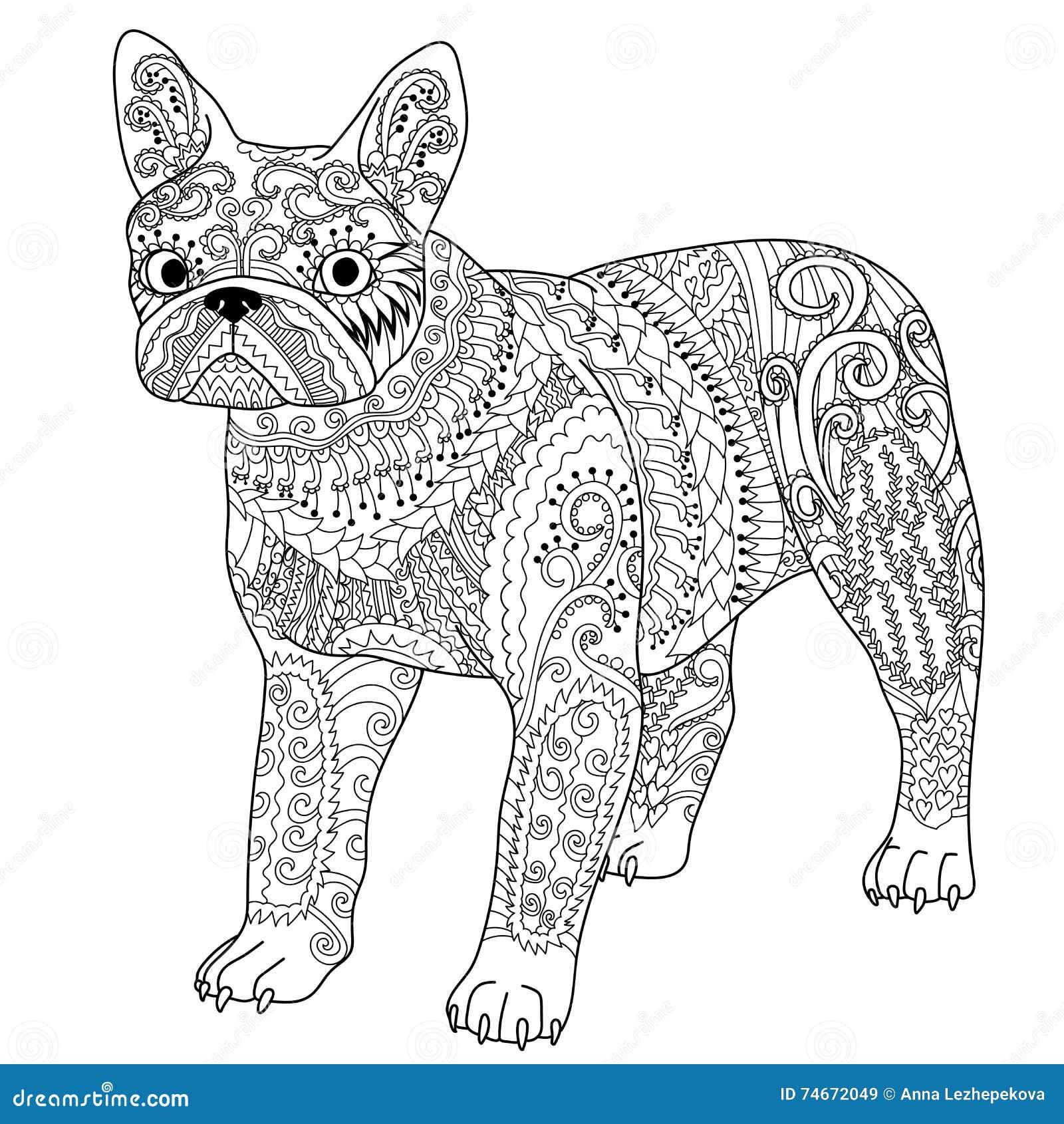 Bulldog Francese Modellato Alto Dettaglio Illustrazione Di Stock