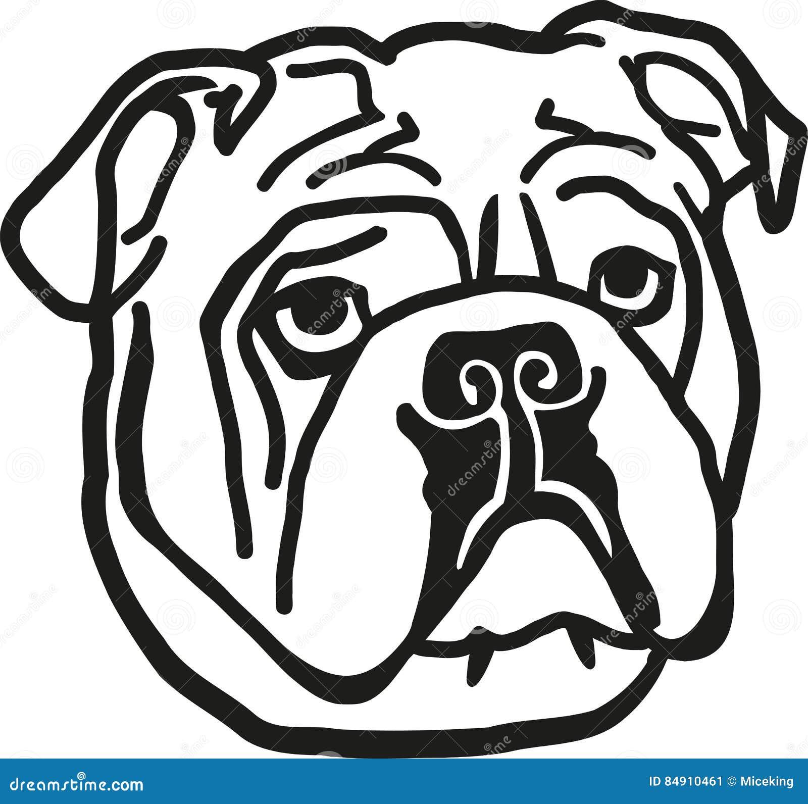 bulldog head stock vector illustration of silhouette