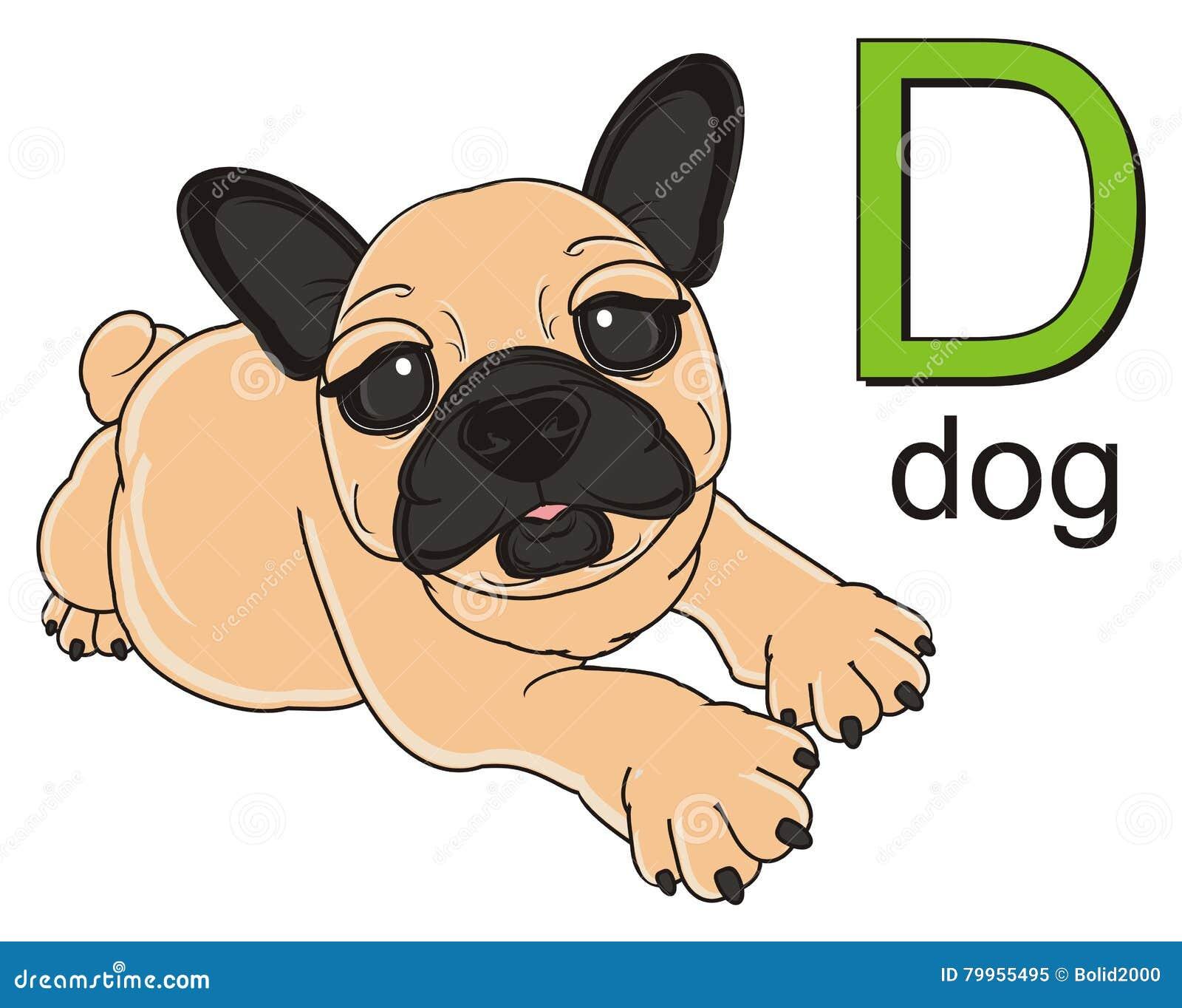 Bulldog With Letter D Stock Illustration Illustration Of Cartoon