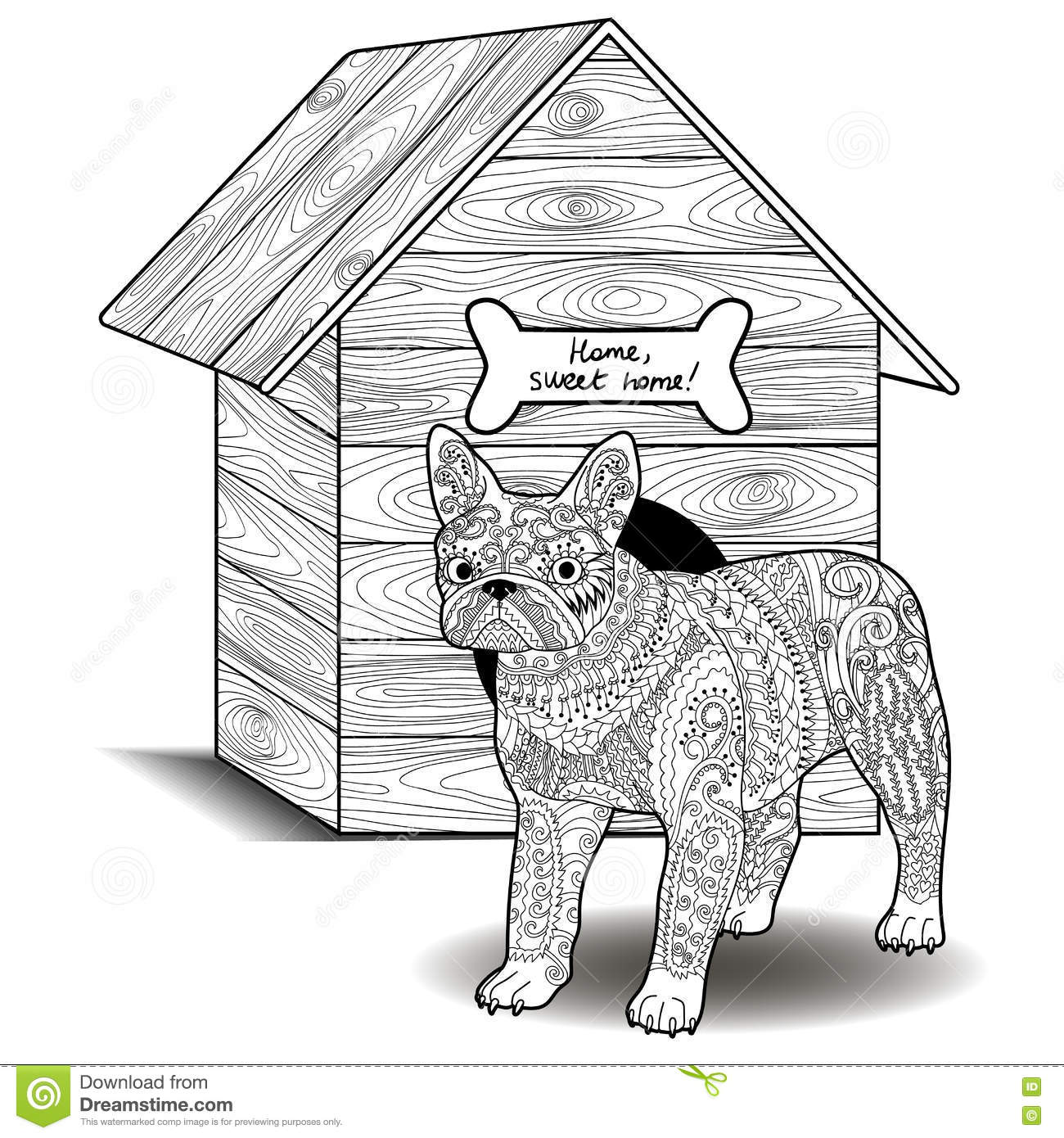 Bulldog Standing In Front Of The Doghouse. Stock Vector ...