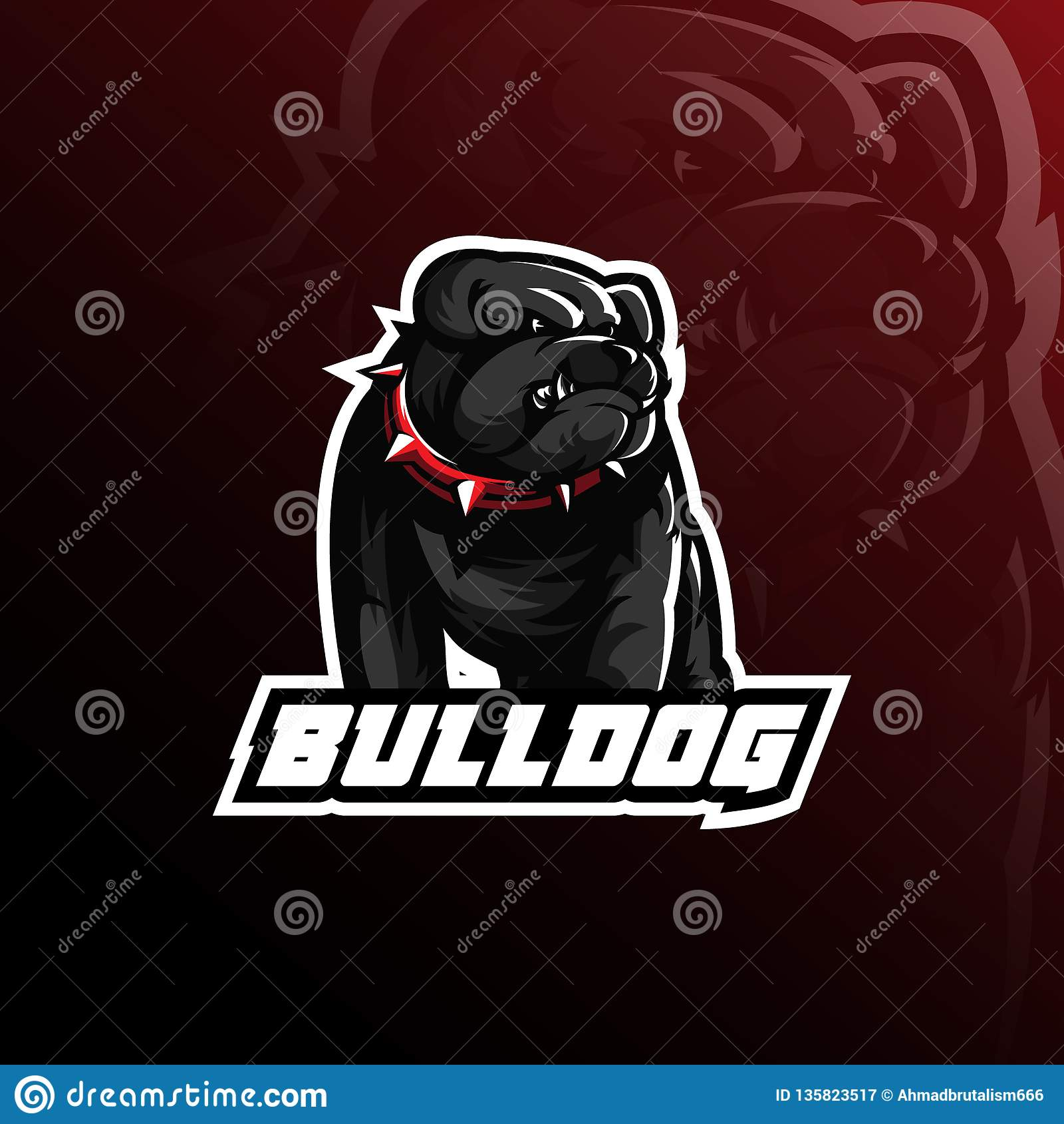 Bulldog vector mascot logo design with modern illustration concept style for badge, emblem and tshirt printing. angry bulldog