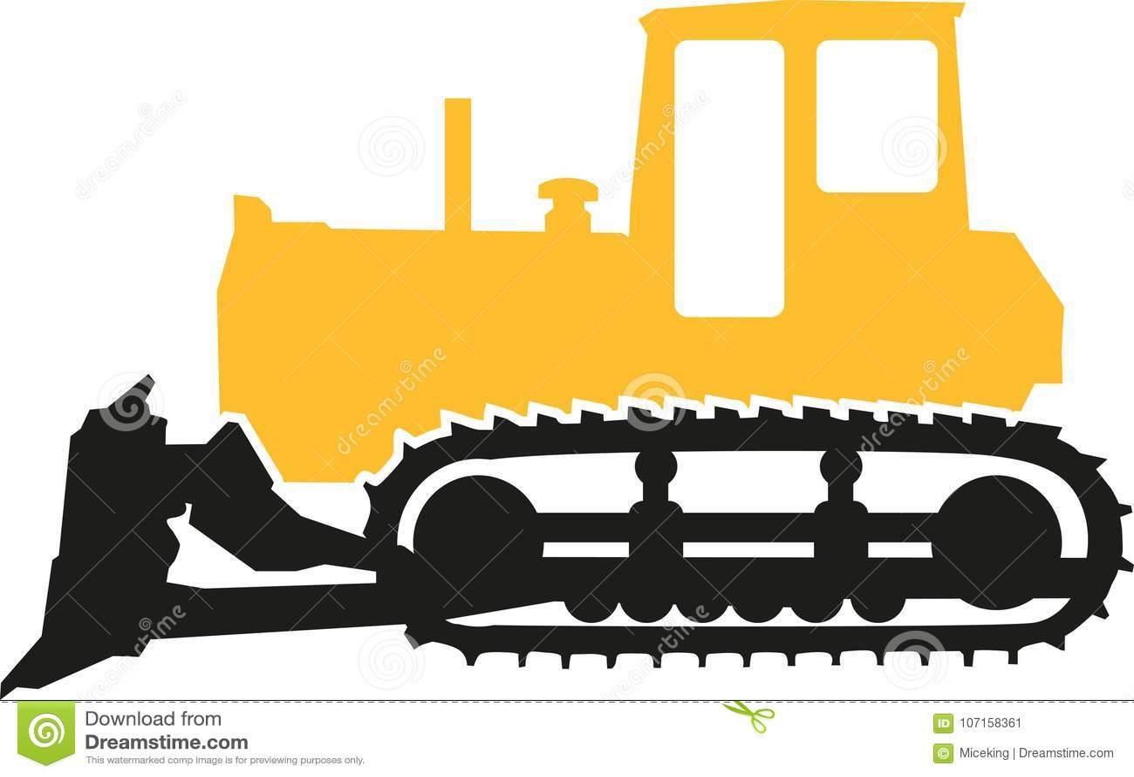 Bulldozer In Black And Yellow Stock Vector - Illustration ...