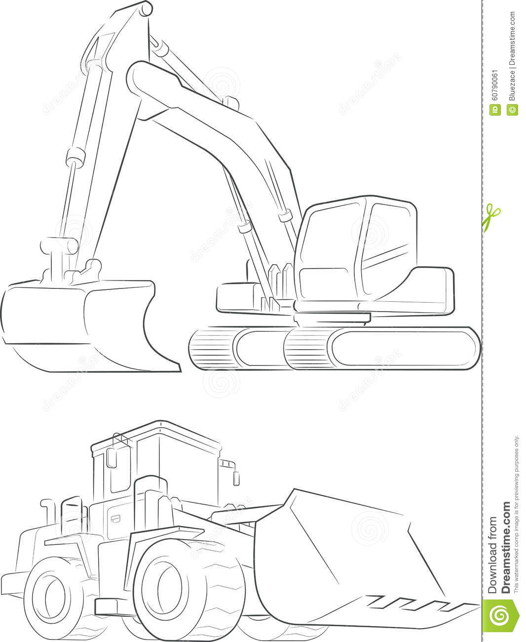 Vector Drawing Lines Excel : Bulldozer excavator vector line art stock
