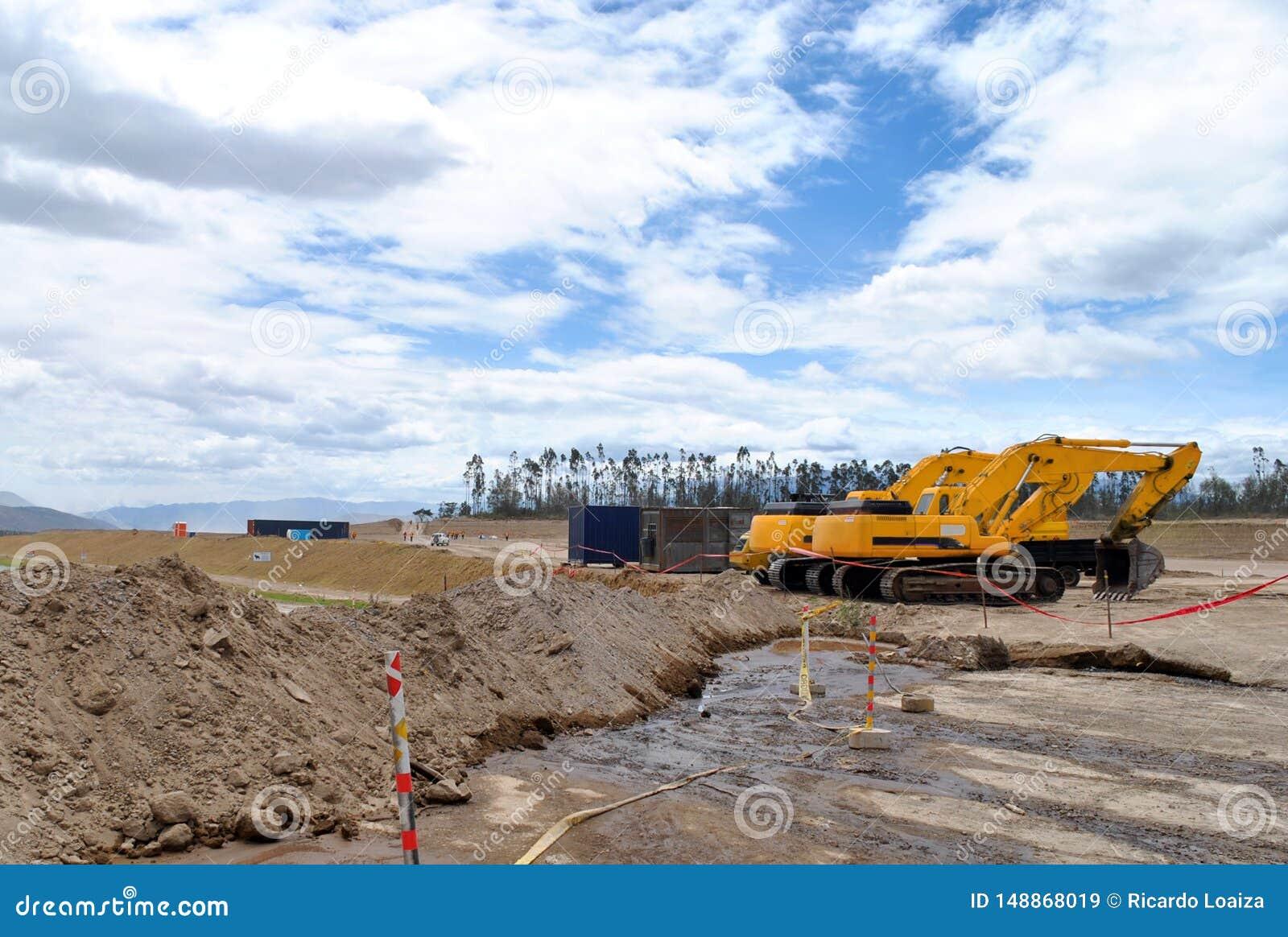 Bulldozer i mitt av en konstruktion