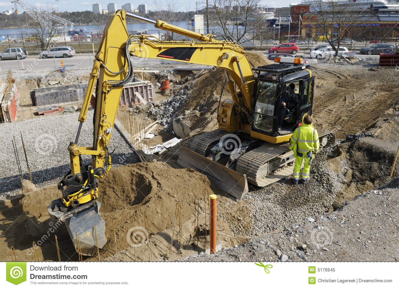 Bulldozer inside building site stock image image of for Build a house website