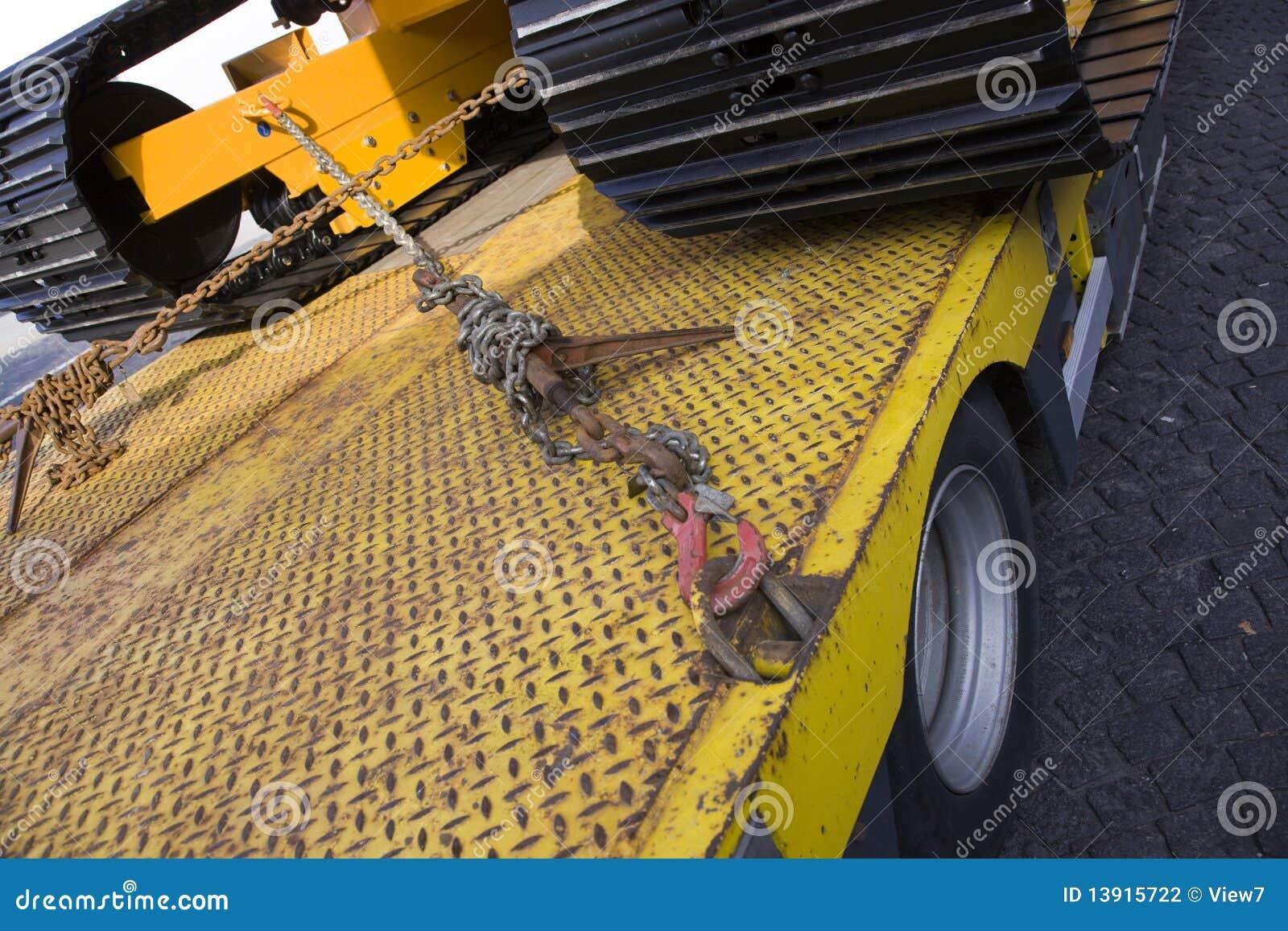 Bulldozer op vrachtwagen