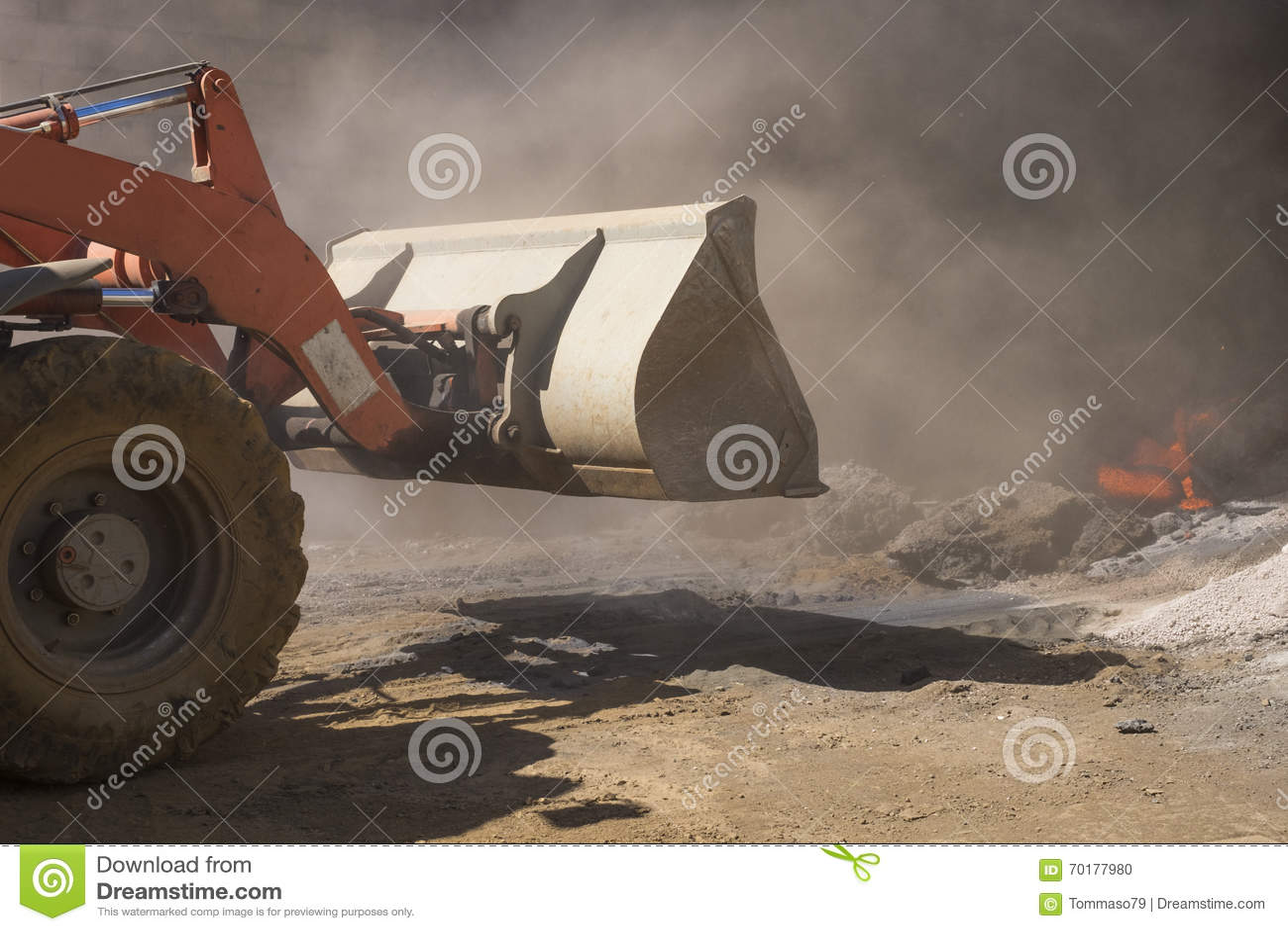 Bulldozer på arbete