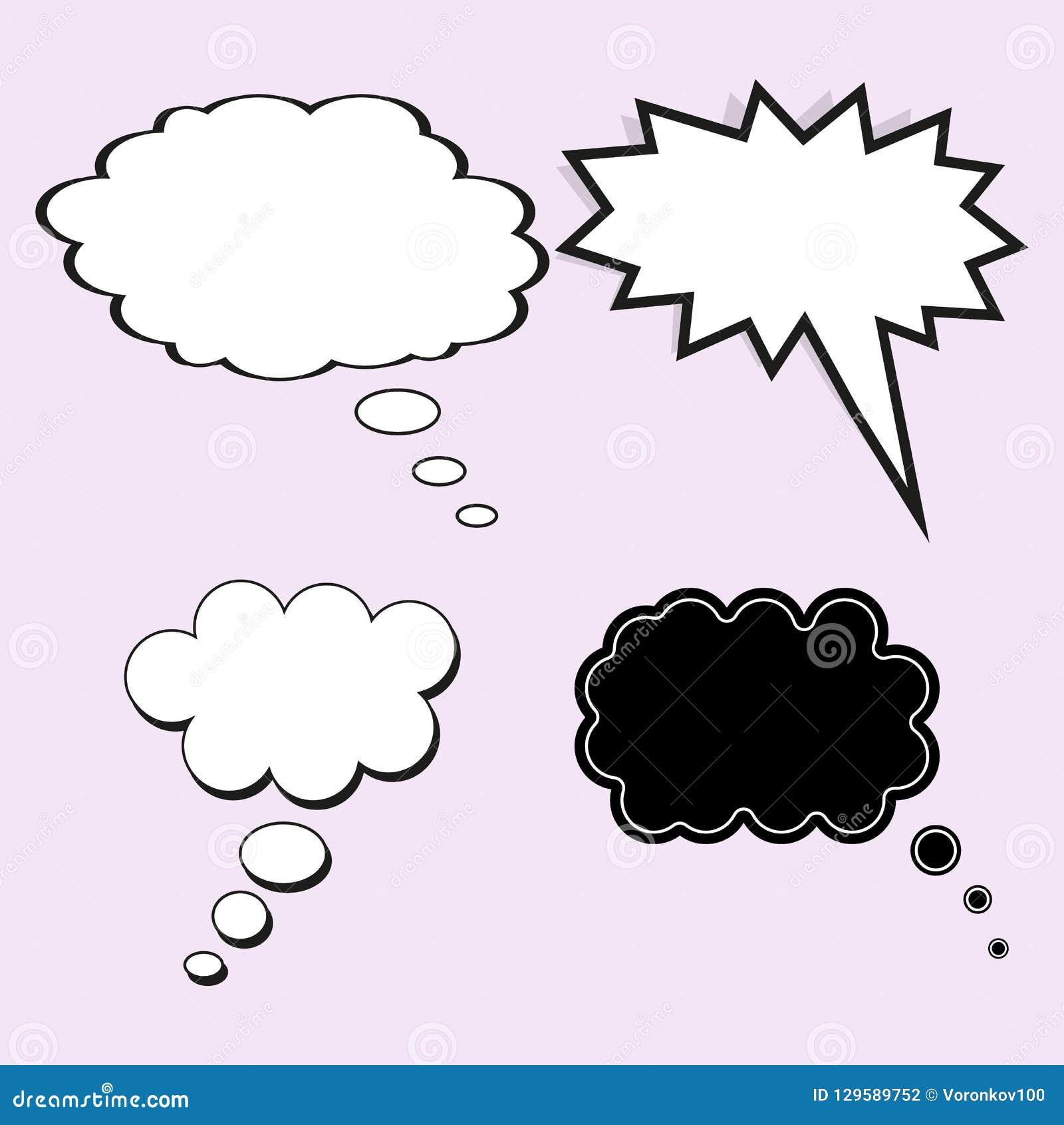Bulle comique de la parole Le concept de la pensée ou du rêve Ensemble de vecteur d éléments de calibre pour la conception, sur l