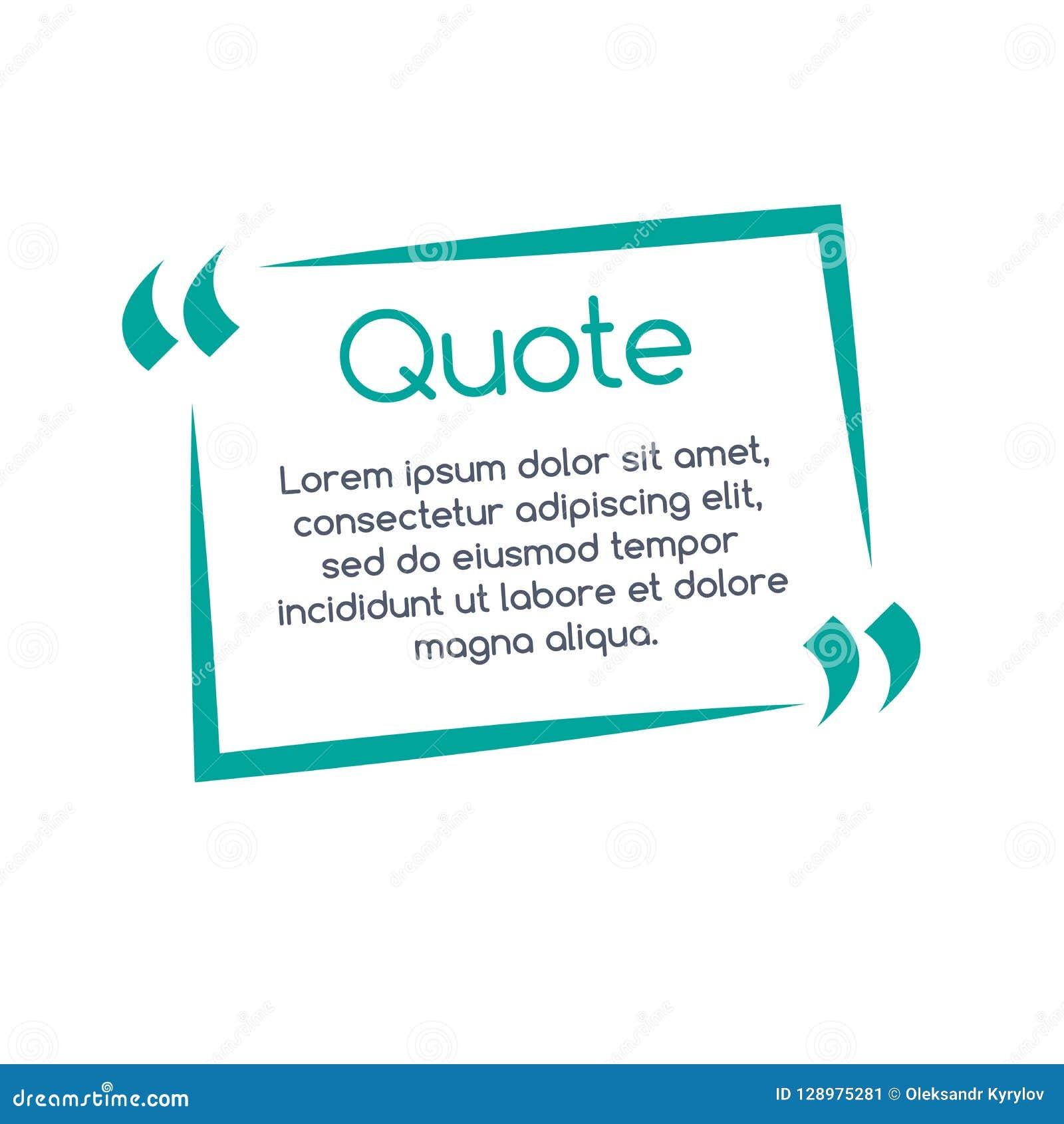 Bulle de la parole de citation, calibre, texte entre parenthèses, cadre de citation, boîte de citation Illustration de vecteur