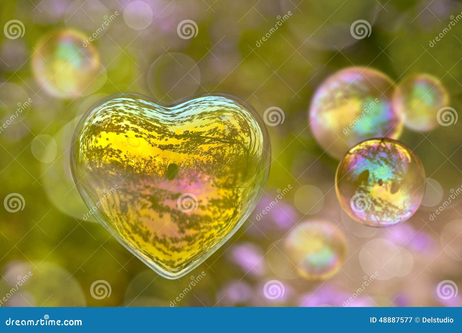 Image Bulle bulle de savon sous forme de coeur image stock - image du romantique