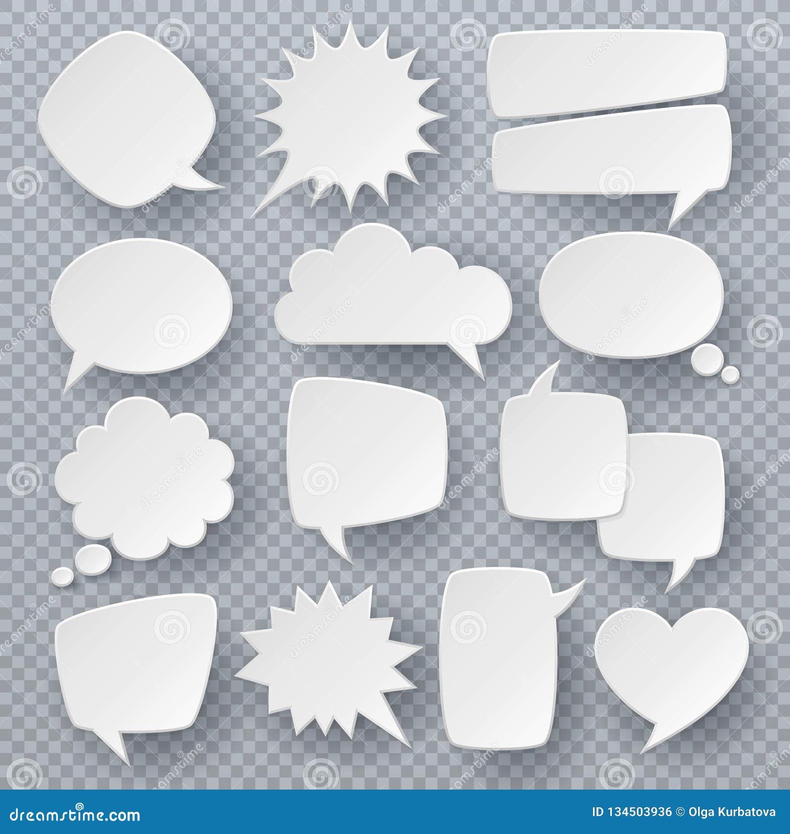 Bulles blanches de la parole Symboles pensés de bulle des textes, formes pétillantes de la parole d origami Rétro ensemble comiqu