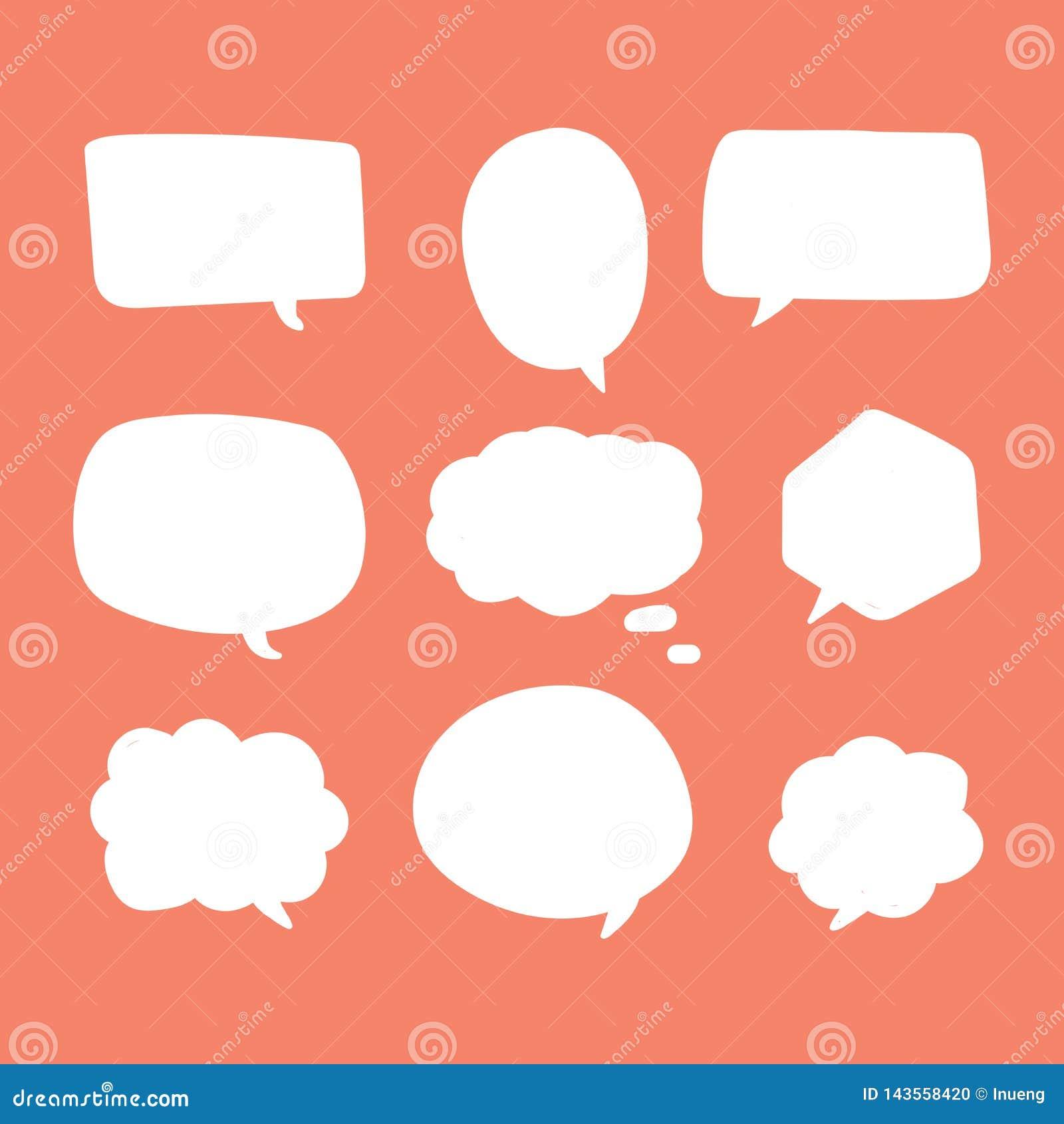 Bulles blanches vides de la parole Formes de cri comiques de bouillonnement de pensée de voix de nuage de commentaire de causerie