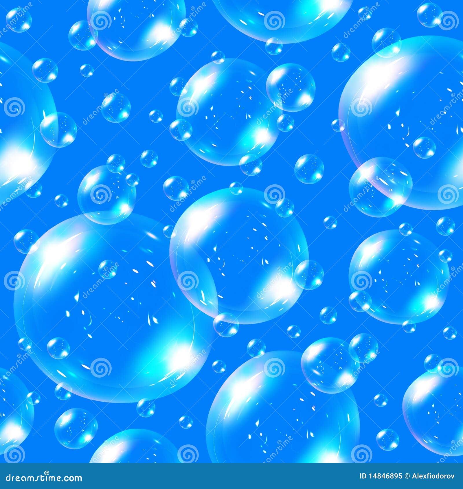Bulles de savon sans joint sur le fond bleu.